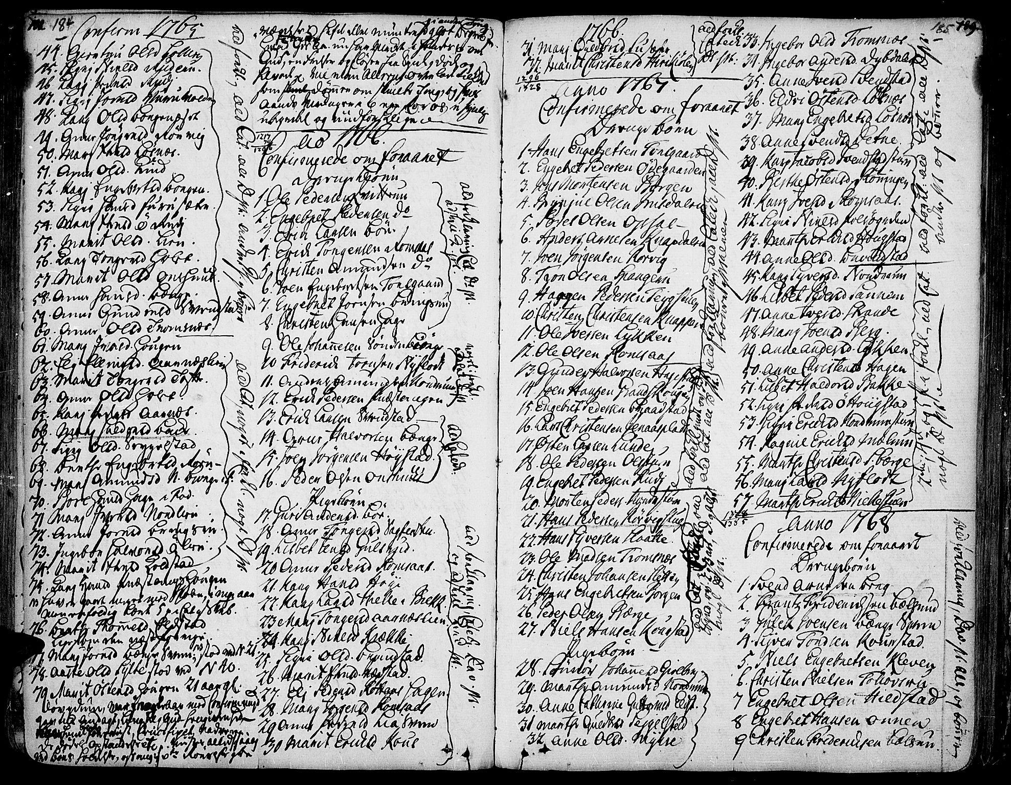 SAH, Ringebu prestekontor, Ministerialbok nr. 2, 1734-1780, s. 184-185