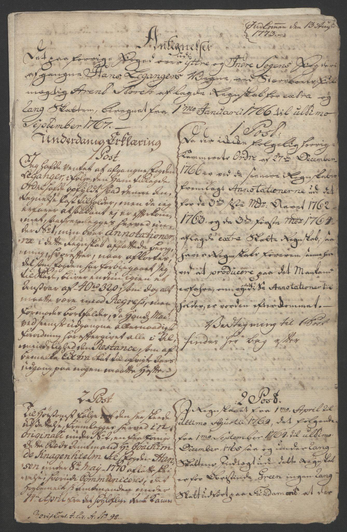 RA, Rentekammeret inntil 1814, Realistisk ordnet avdeling, Ol/L0018: [Gg 10]: Ekstraskatten, 23.09.1762. Sogn, 1762-1772, s. 147
