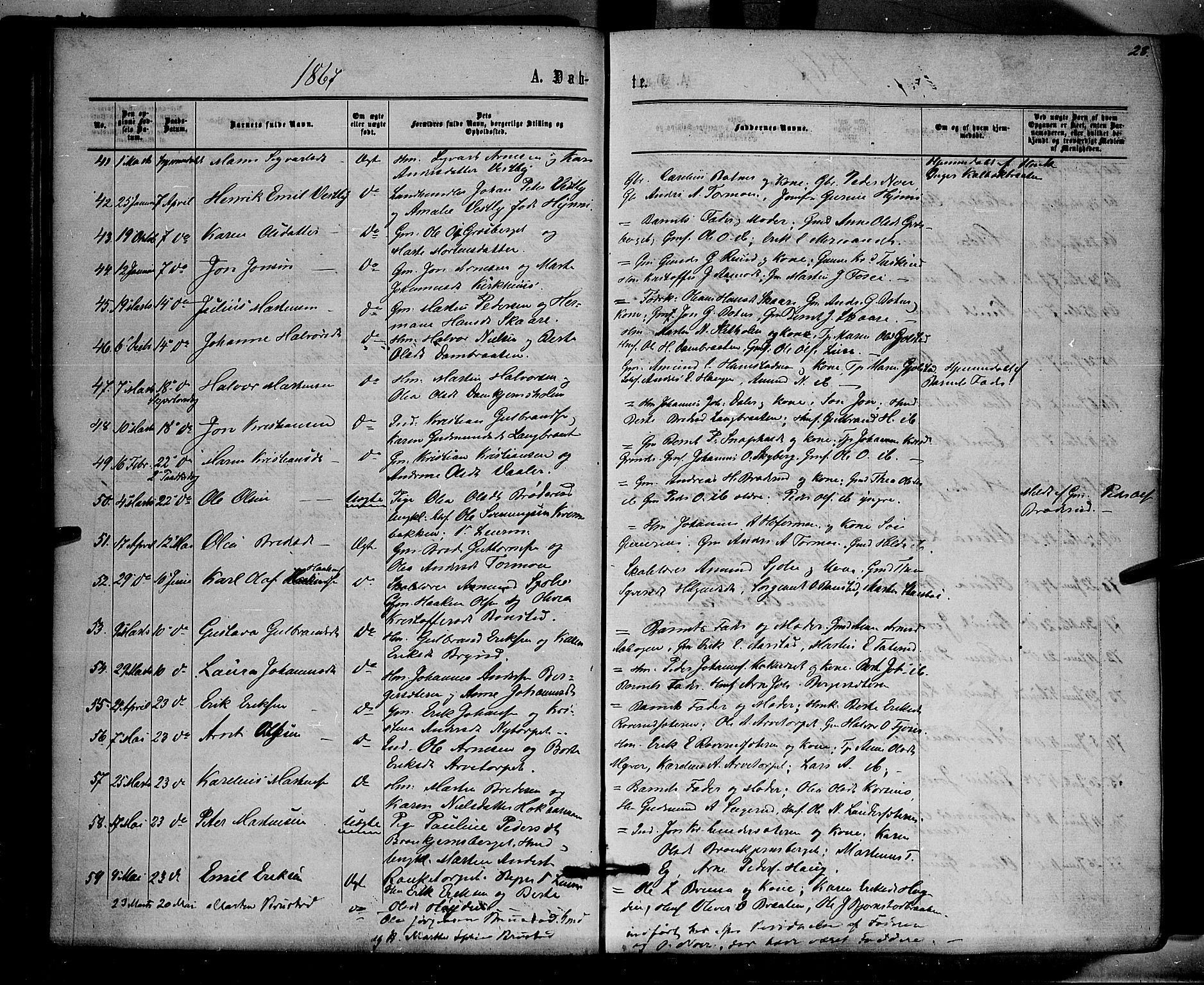 SAH, Brandval prestekontor, H/Ha/Haa/L0001: Ministerialbok nr. 1, 1864-1879, s. 28