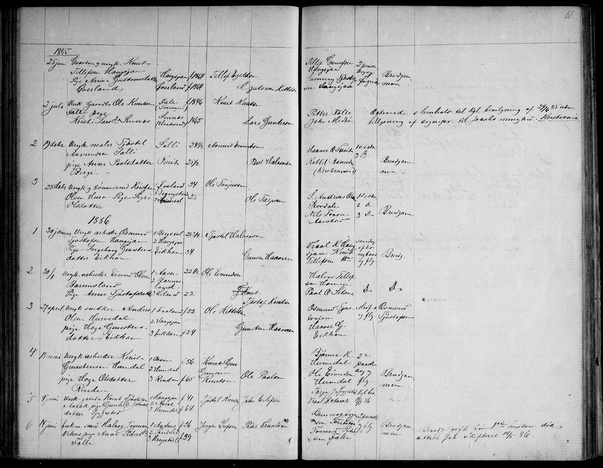 SAKO, Nissedal kirkebøker, G/Gb/L0002: Klokkerbok nr. II 2, 1863-1892, s. 56