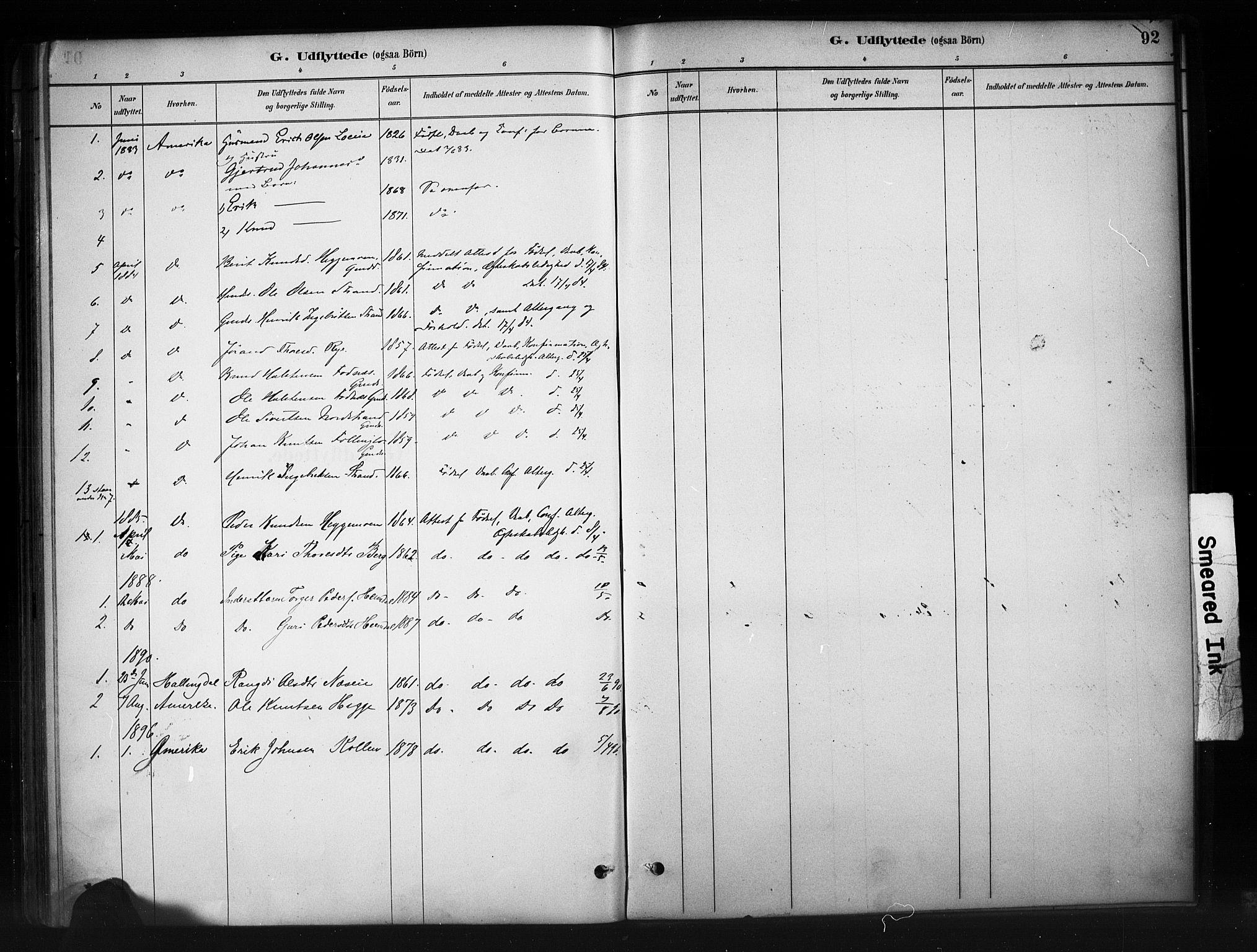 SAH, Nord-Aurdal prestekontor, Ministerialbok nr. 10, 1883-1896, s. 92