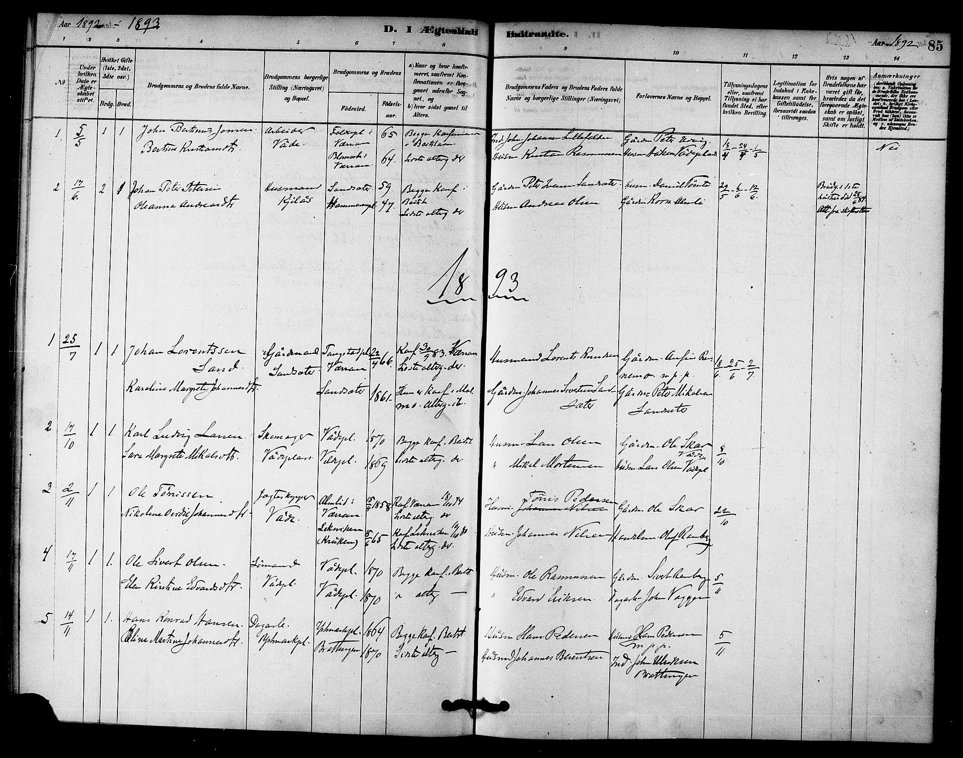 SAT, Ministerialprotokoller, klokkerbøker og fødselsregistre - Nord-Trøndelag, 745/L0429: Ministerialbok nr. 745A01, 1878-1894, s. 85