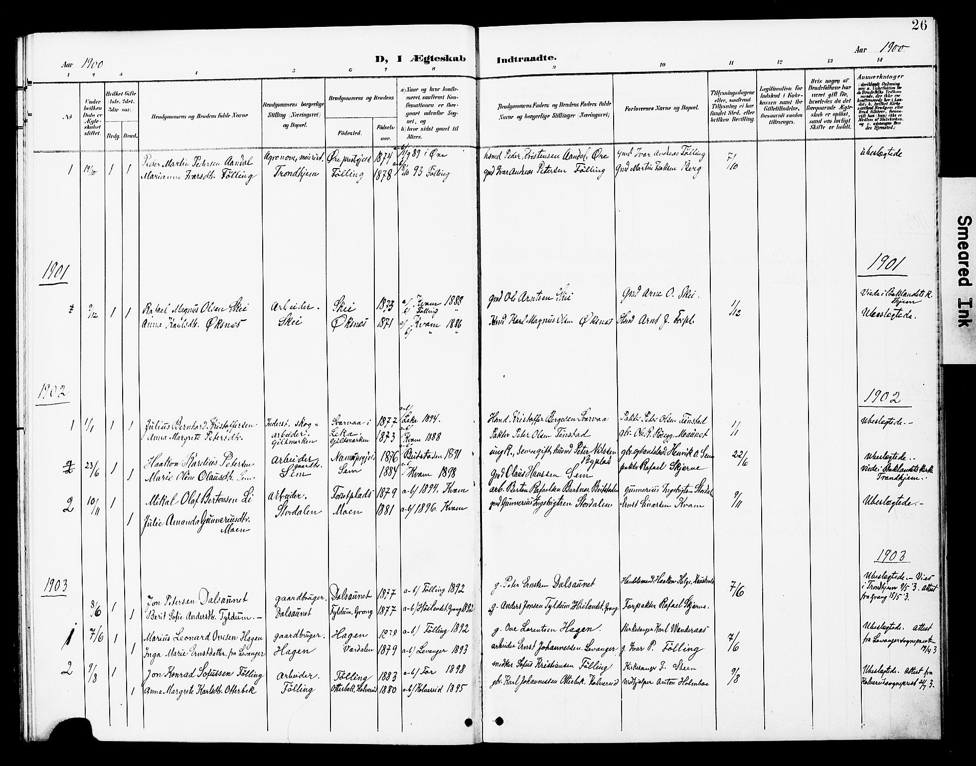 SAT, Ministerialprotokoller, klokkerbøker og fødselsregistre - Nord-Trøndelag, 748/L0464: Ministerialbok nr. 748A01, 1900-1908, s. 26