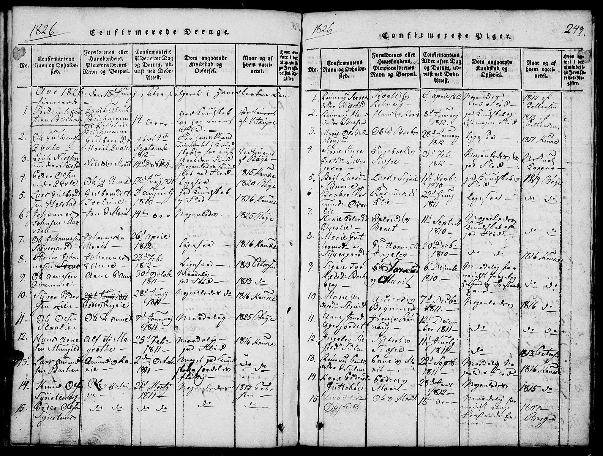 SAH, Lom prestekontor, L/L0001: Klokkerbok nr. 1, 1815-1836, s. 249