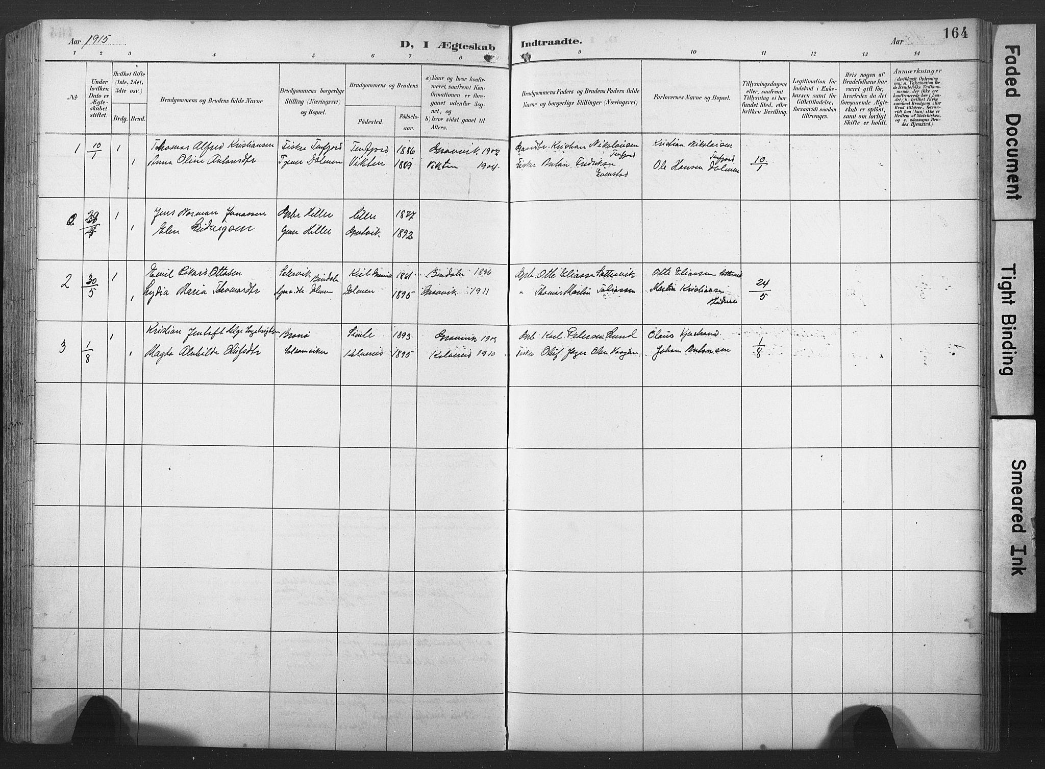SAT, Ministerialprotokoller, klokkerbøker og fødselsregistre - Nord-Trøndelag, 789/L0706: Klokkerbok nr. 789C01, 1888-1931, s. 164