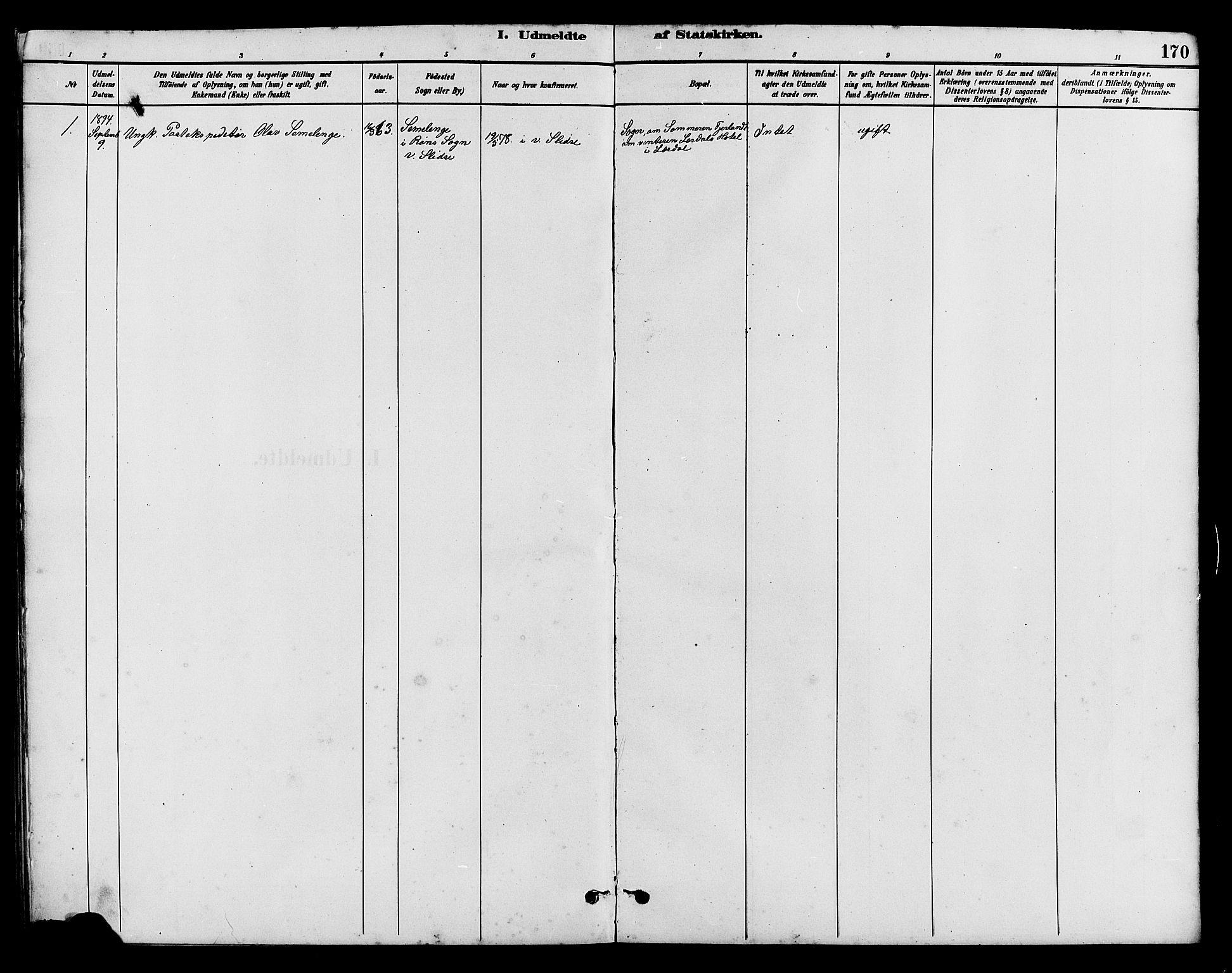 SAH, Vestre Slidre prestekontor, Klokkerbok nr. 5, 1881-1913, s. 170