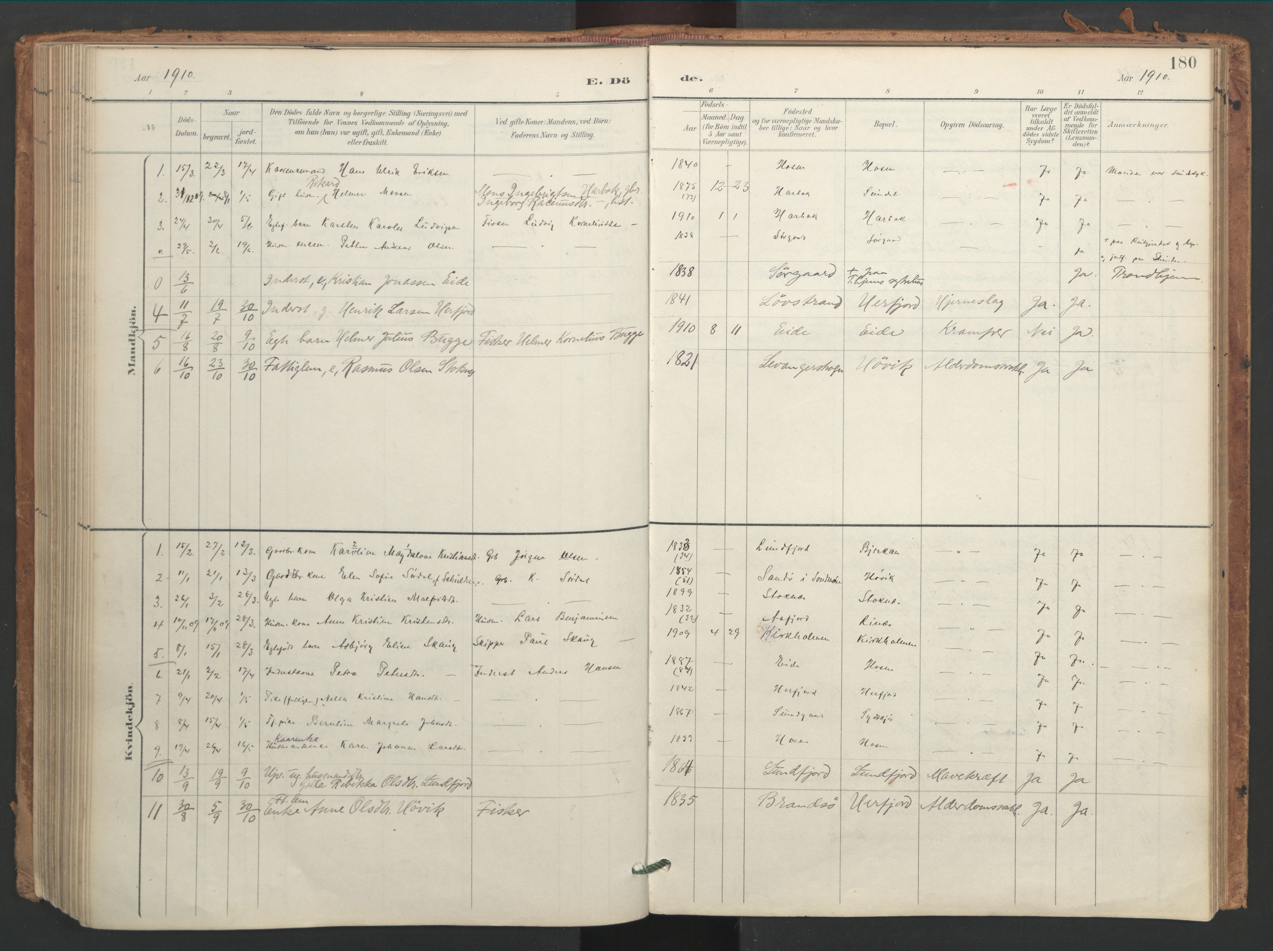 SAT, Ministerialprotokoller, klokkerbøker og fødselsregistre - Sør-Trøndelag, 656/L0693: Ministerialbok nr. 656A02, 1894-1913, s. 180