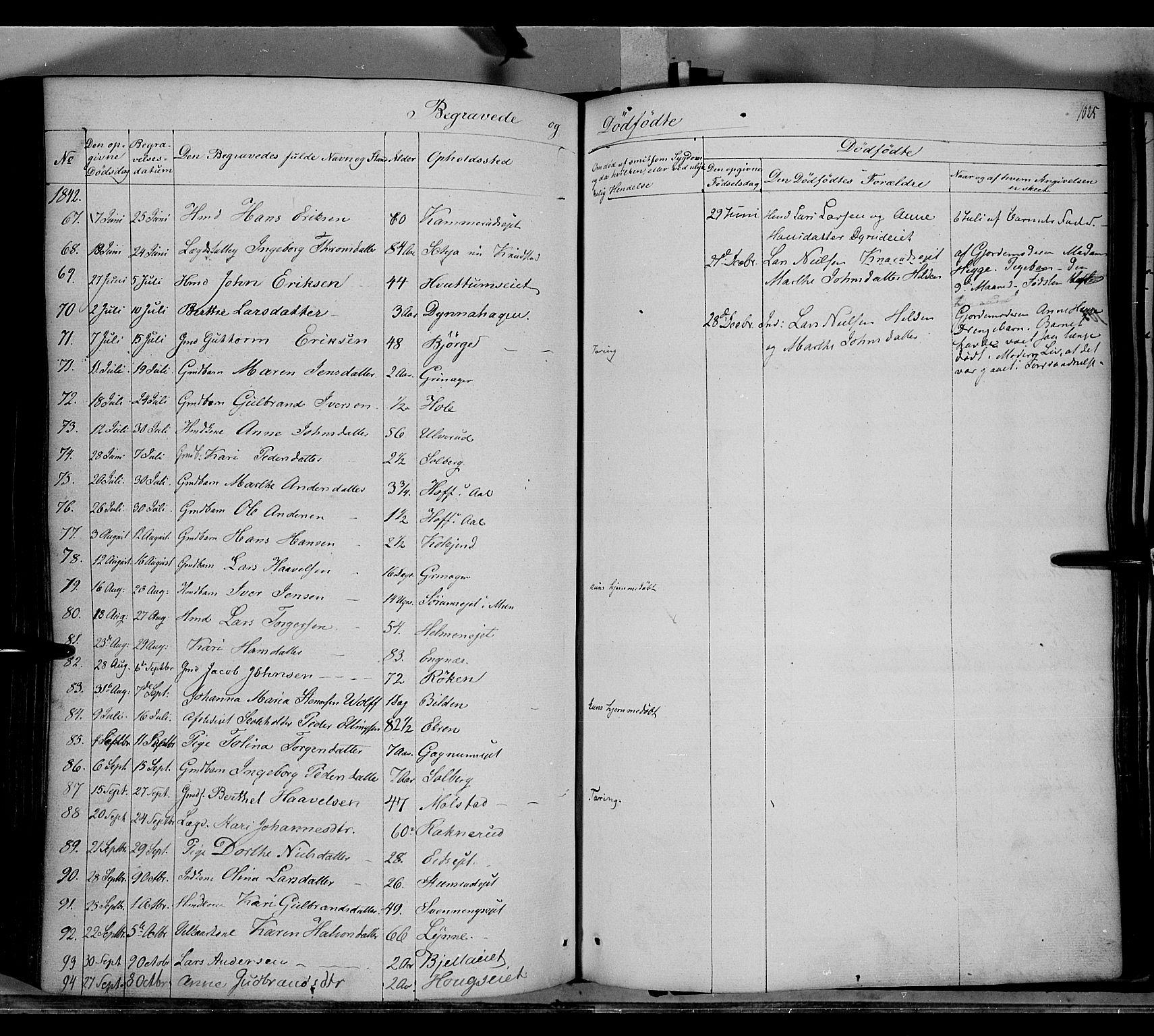 SAH, Gran prestekontor, Ministerialbok nr. 11, 1842-1856, s. 1024-1025