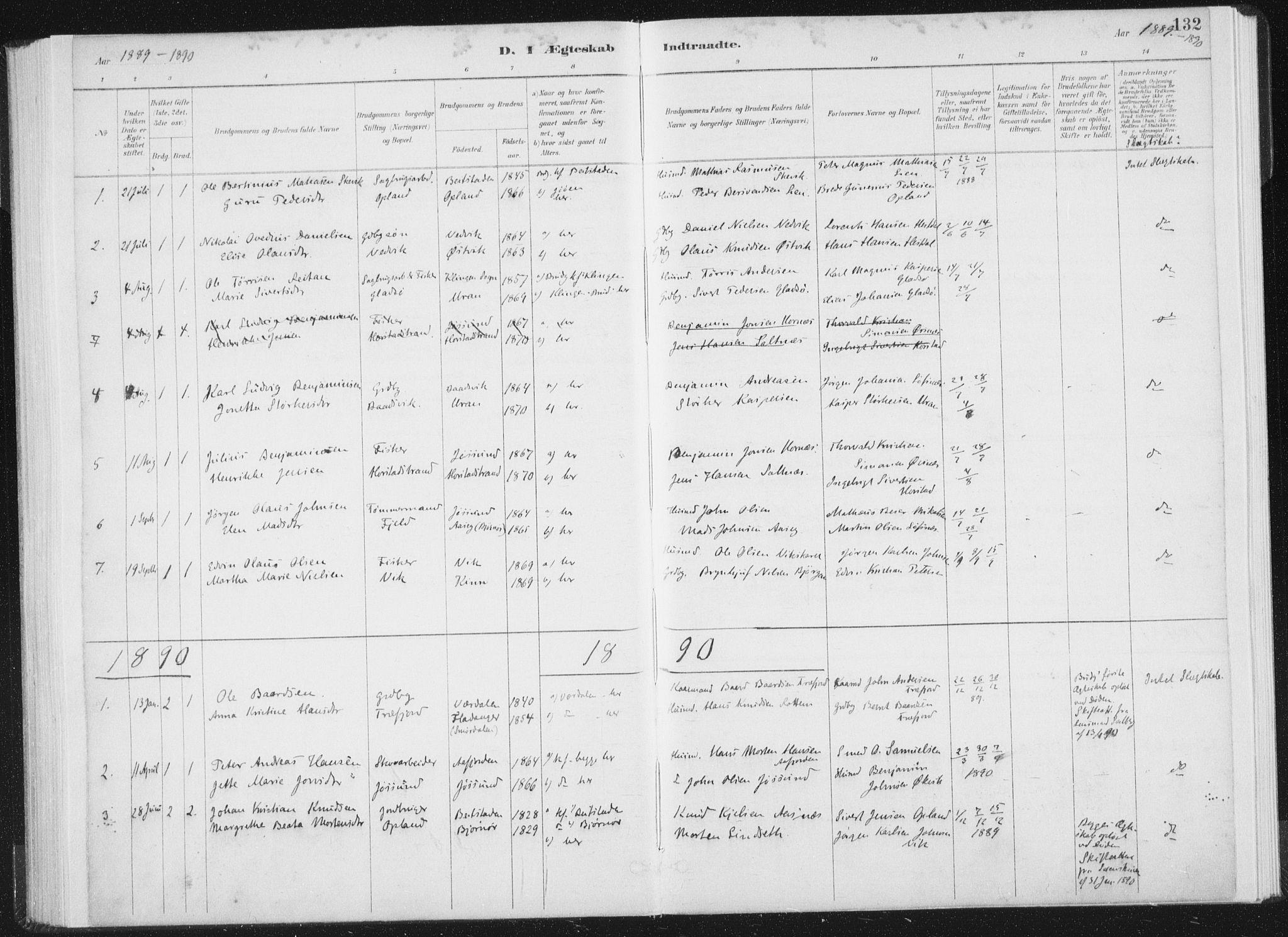 SAT, Ministerialprotokoller, klokkerbøker og fødselsregistre - Nord-Trøndelag, 771/L0597: Ministerialbok nr. 771A04, 1885-1910, s. 132
