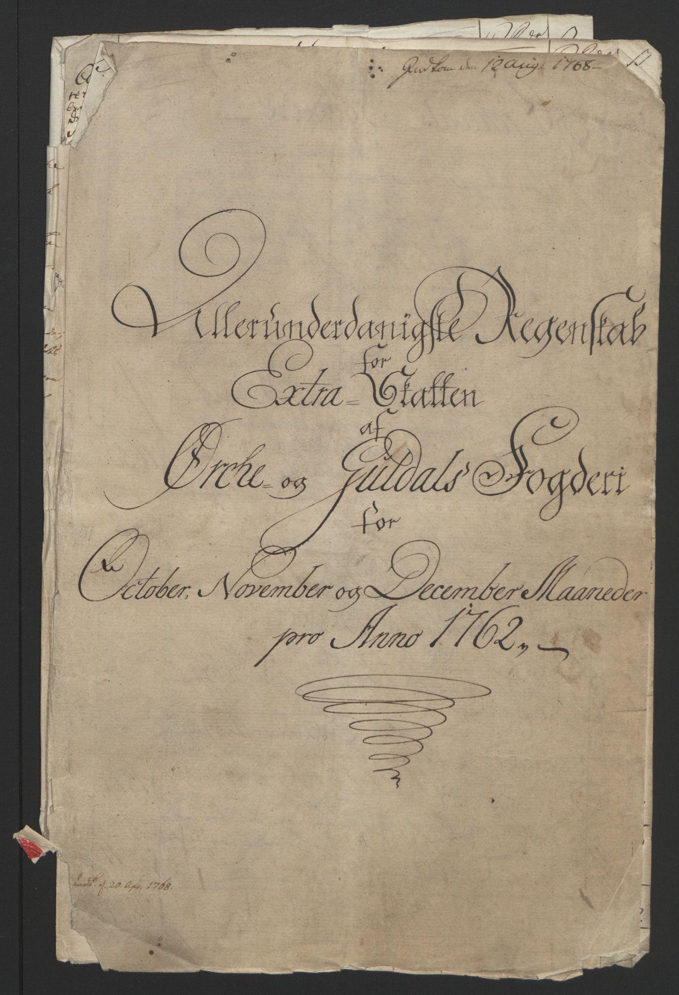 RA, Rentekammeret inntil 1814, Reviderte regnskaper, Fogderegnskap, R60/L4094: Ekstraskatten Orkdal og Gauldal, 1762-1765, s. 6