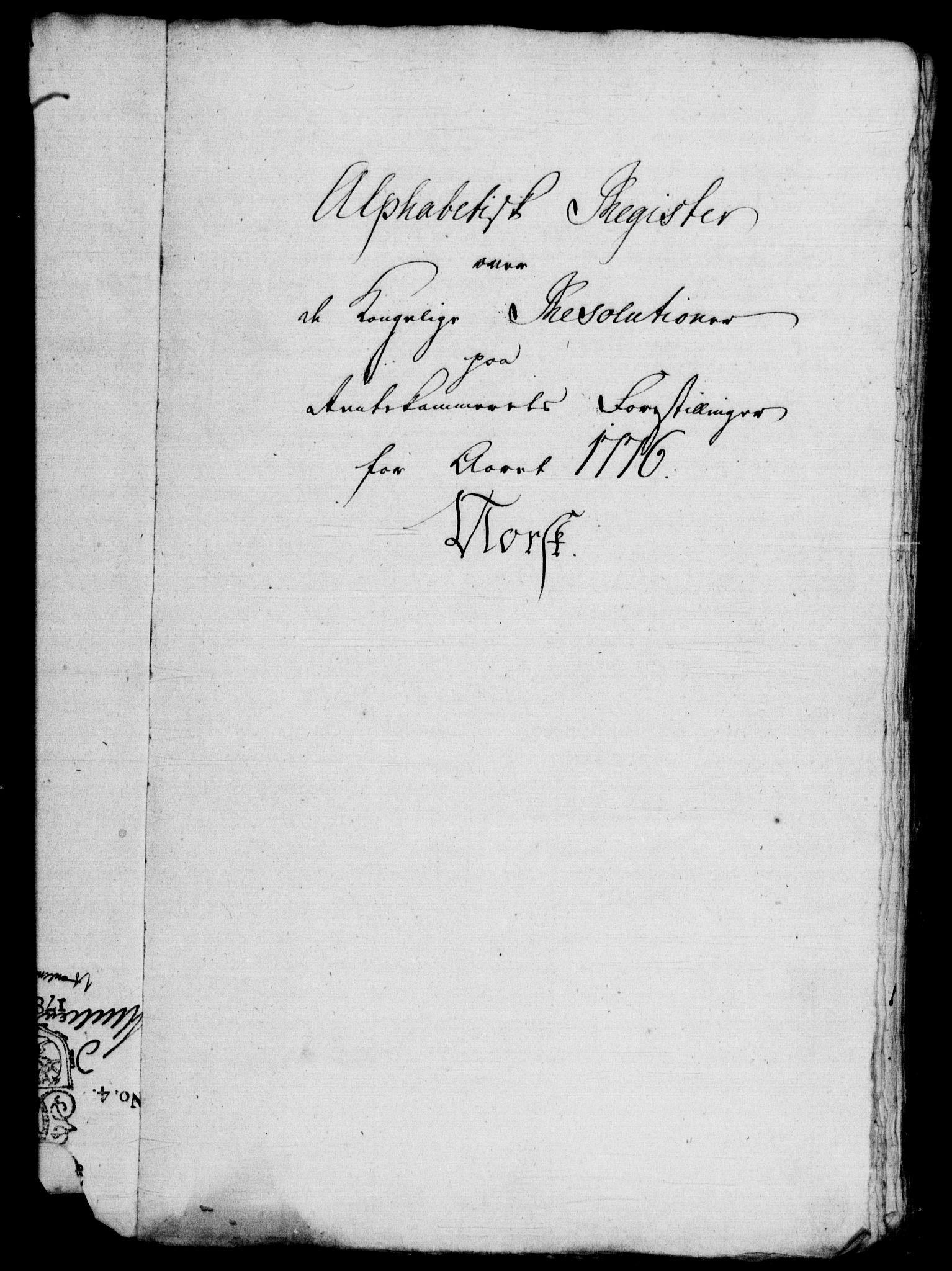 RA, Rentekammeret, Kammerkanselliet, G/Gf/Gfb/L0010: Register til norske relasjons- og resolusjonsprotokoller (merket RK 52.105), 1775-1780, s. 52