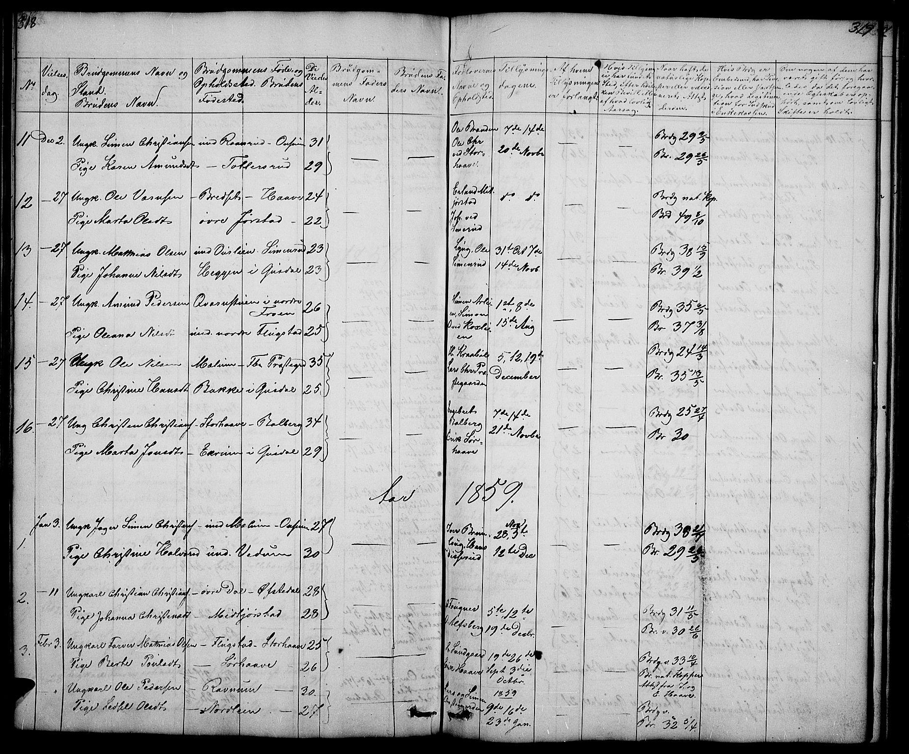 SAH, Fåberg prestekontor, Klokkerbok nr. 5, 1837-1864, s. 318-319
