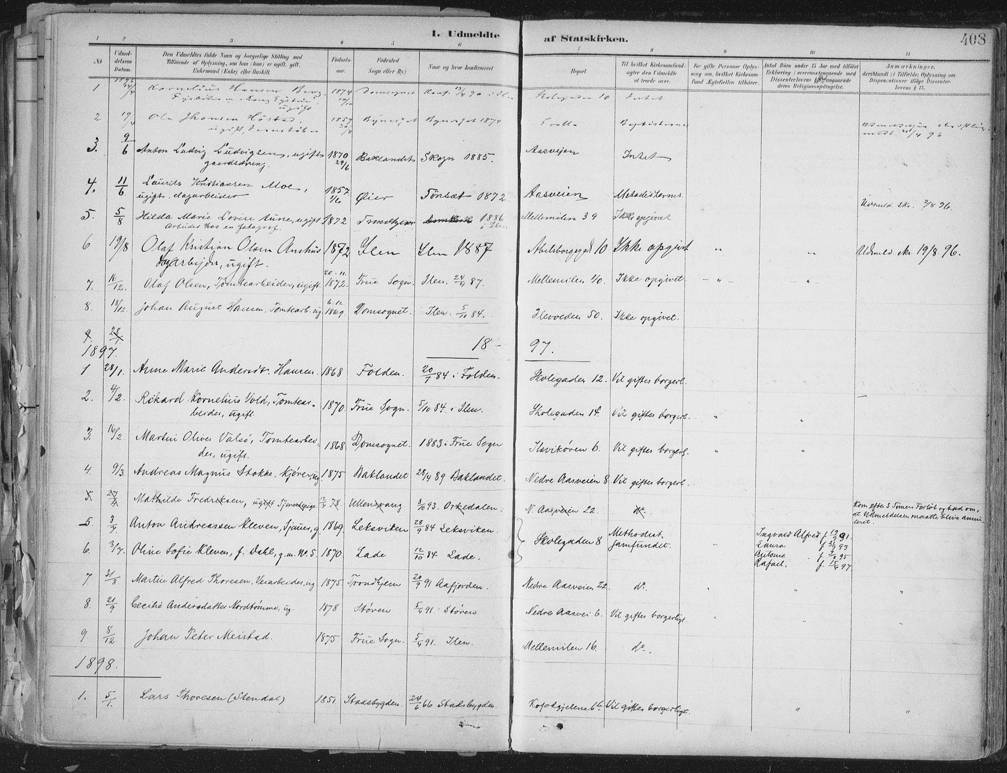 SAT, Ministerialprotokoller, klokkerbøker og fødselsregistre - Sør-Trøndelag, 603/L0167: Ministerialbok nr. 603A06, 1896-1932, s. 408