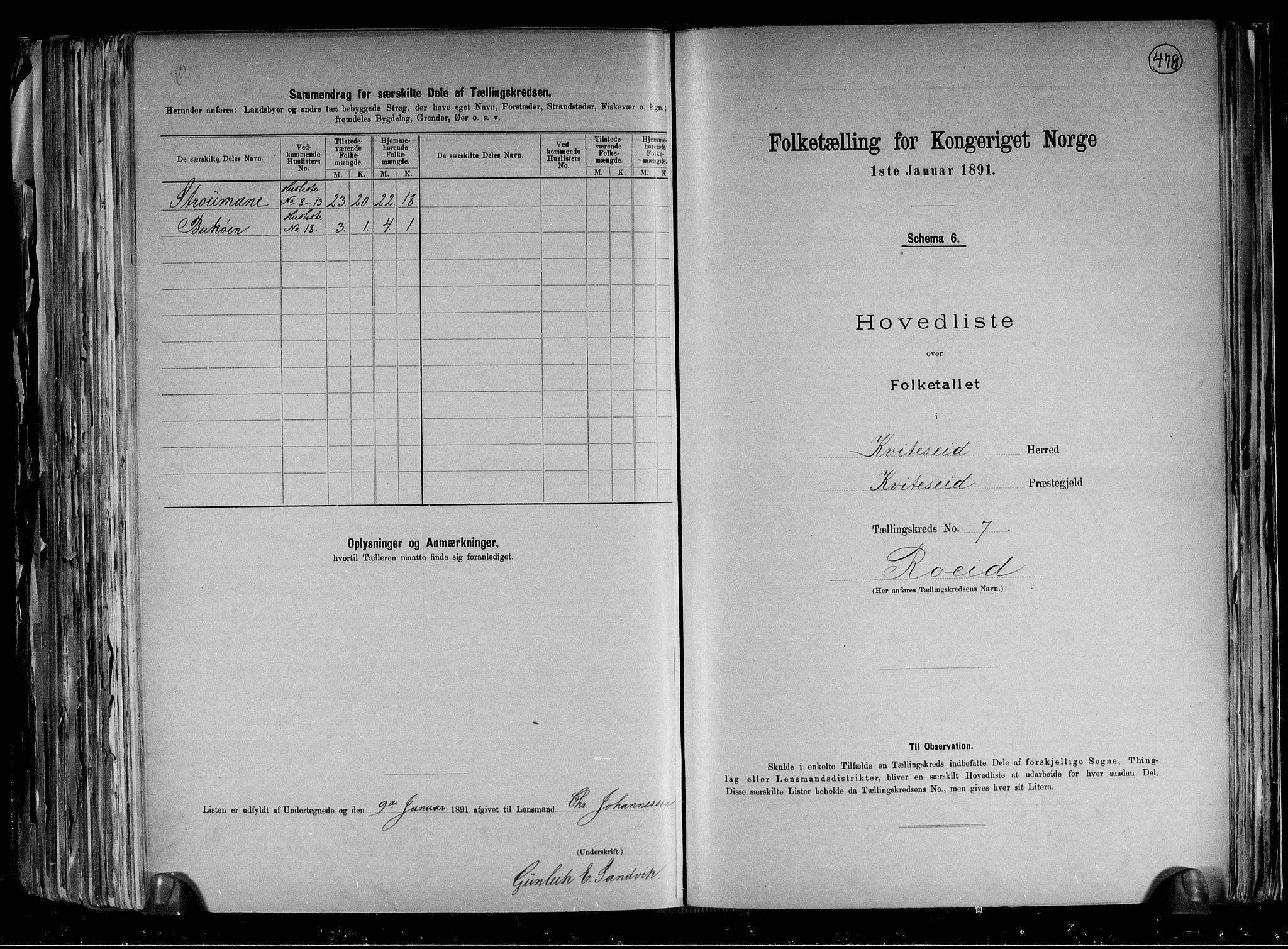 RA, Folketelling 1891 for 0829 Kviteseid herred, 1891, s. 17