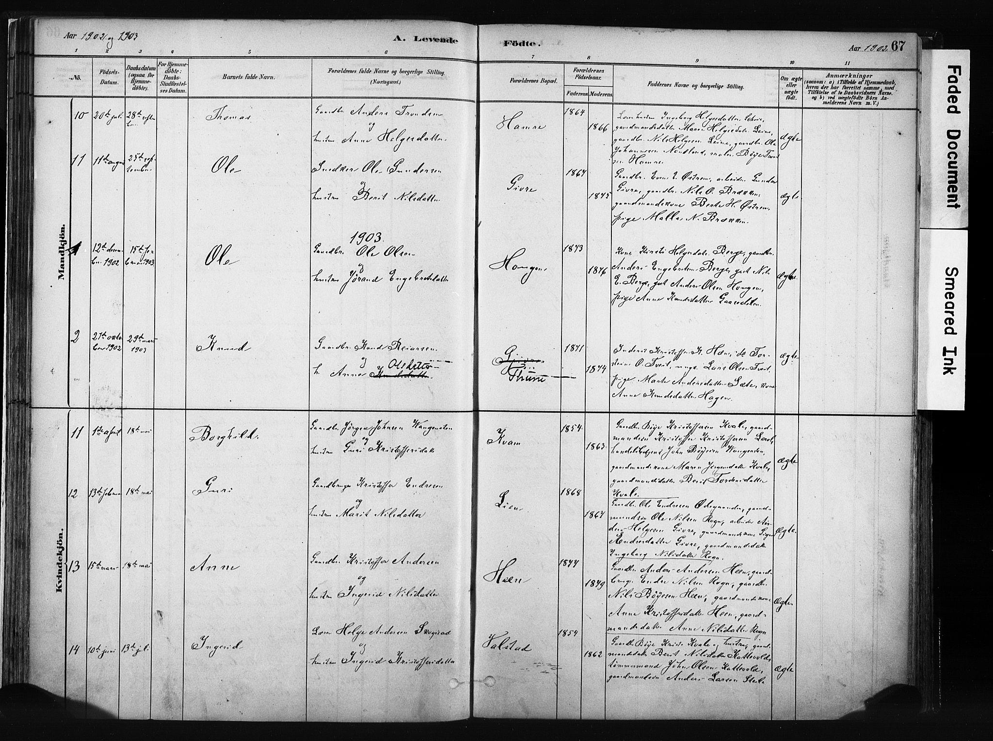 SAH, Vang prestekontor, Valdres, Ministerialbok nr. 8, 1882-1910, s. 67