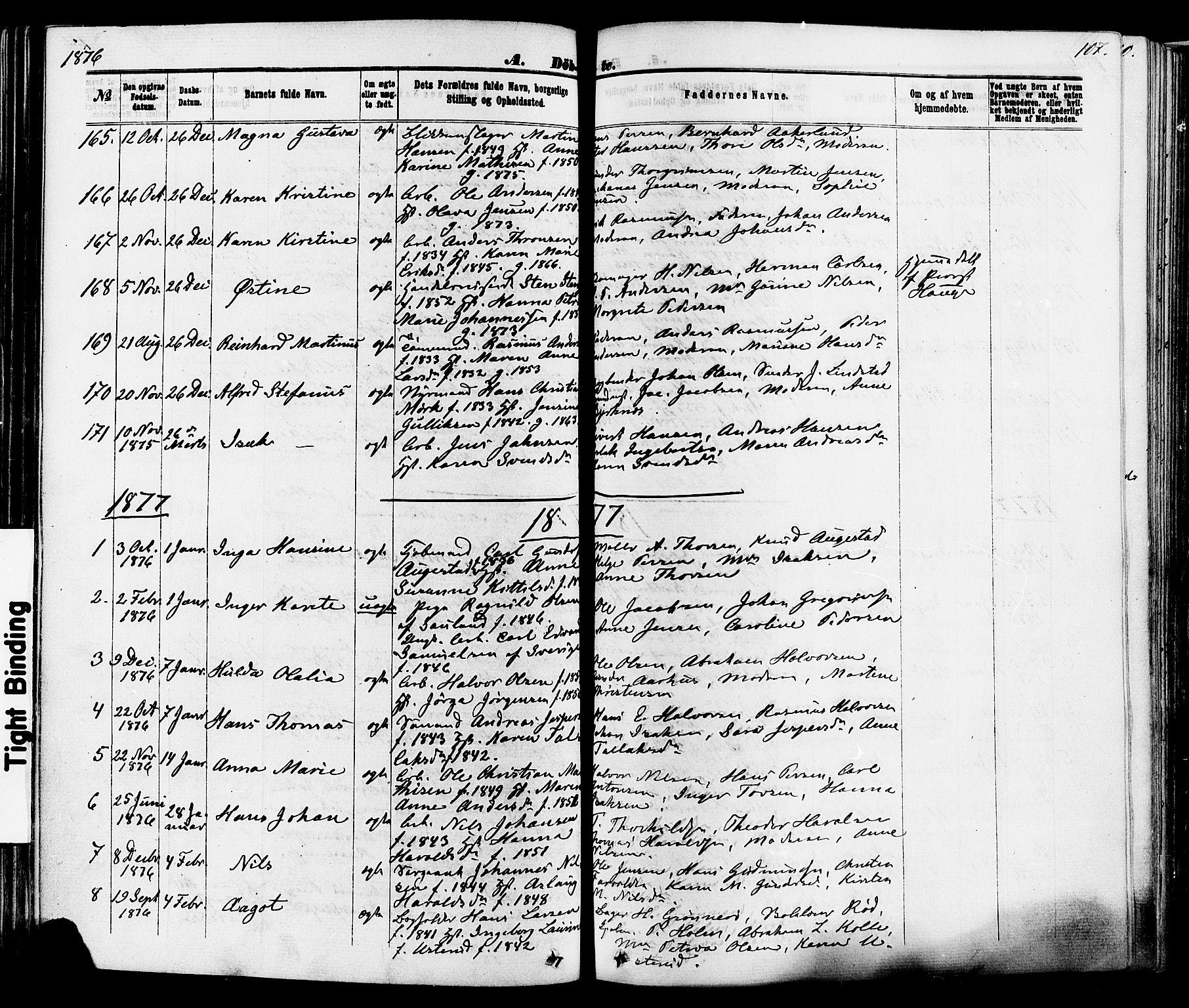 SAKO, Skien kirkebøker, F/Fa/L0008: Ministerialbok nr. 8, 1866-1877, s. 107