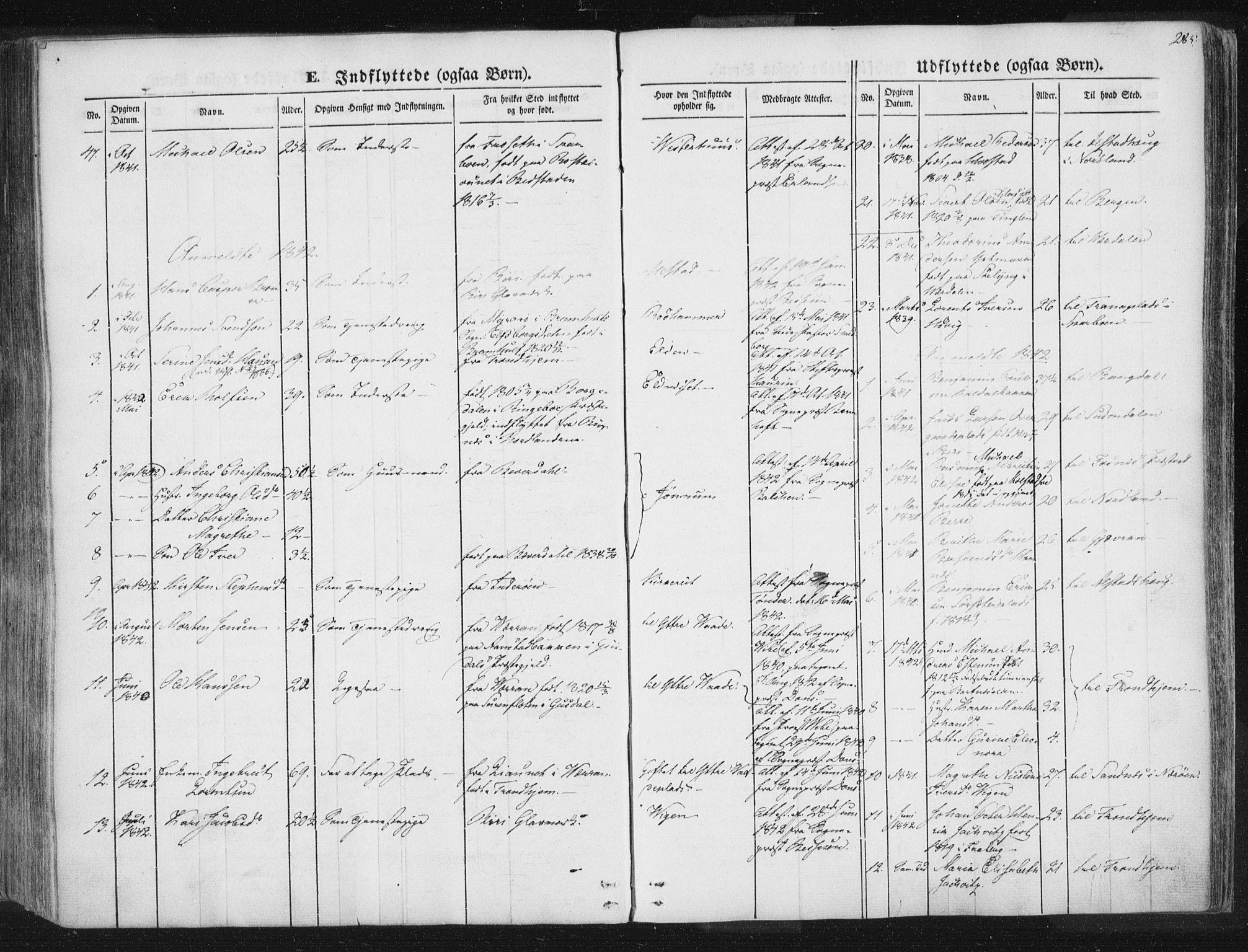 SAT, Ministerialprotokoller, klokkerbøker og fødselsregistre - Nord-Trøndelag, 741/L0392: Ministerialbok nr. 741A06, 1836-1848, s. 285