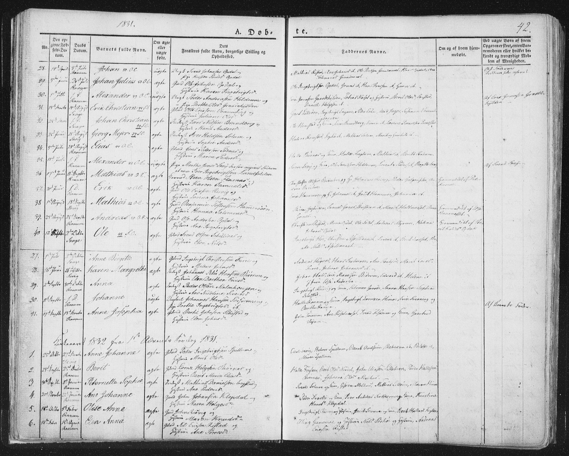 SAT, Ministerialprotokoller, klokkerbøker og fødselsregistre - Nord-Trøndelag, 764/L0551: Ministerialbok nr. 764A07a, 1824-1864, s. 42