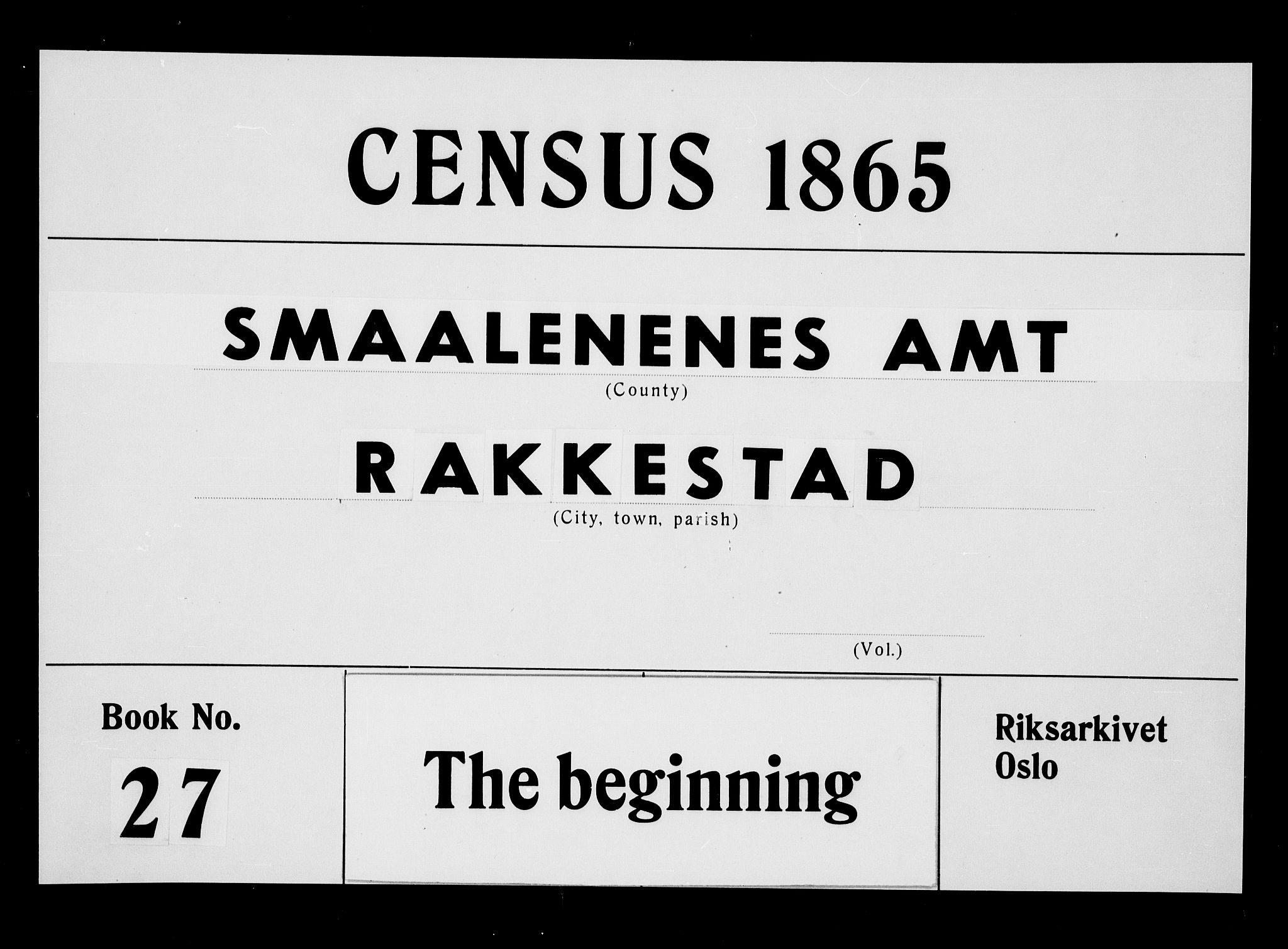 RA, Folketelling 1865 for 0128P Rakkestad prestegjeld, 1865, s. 1