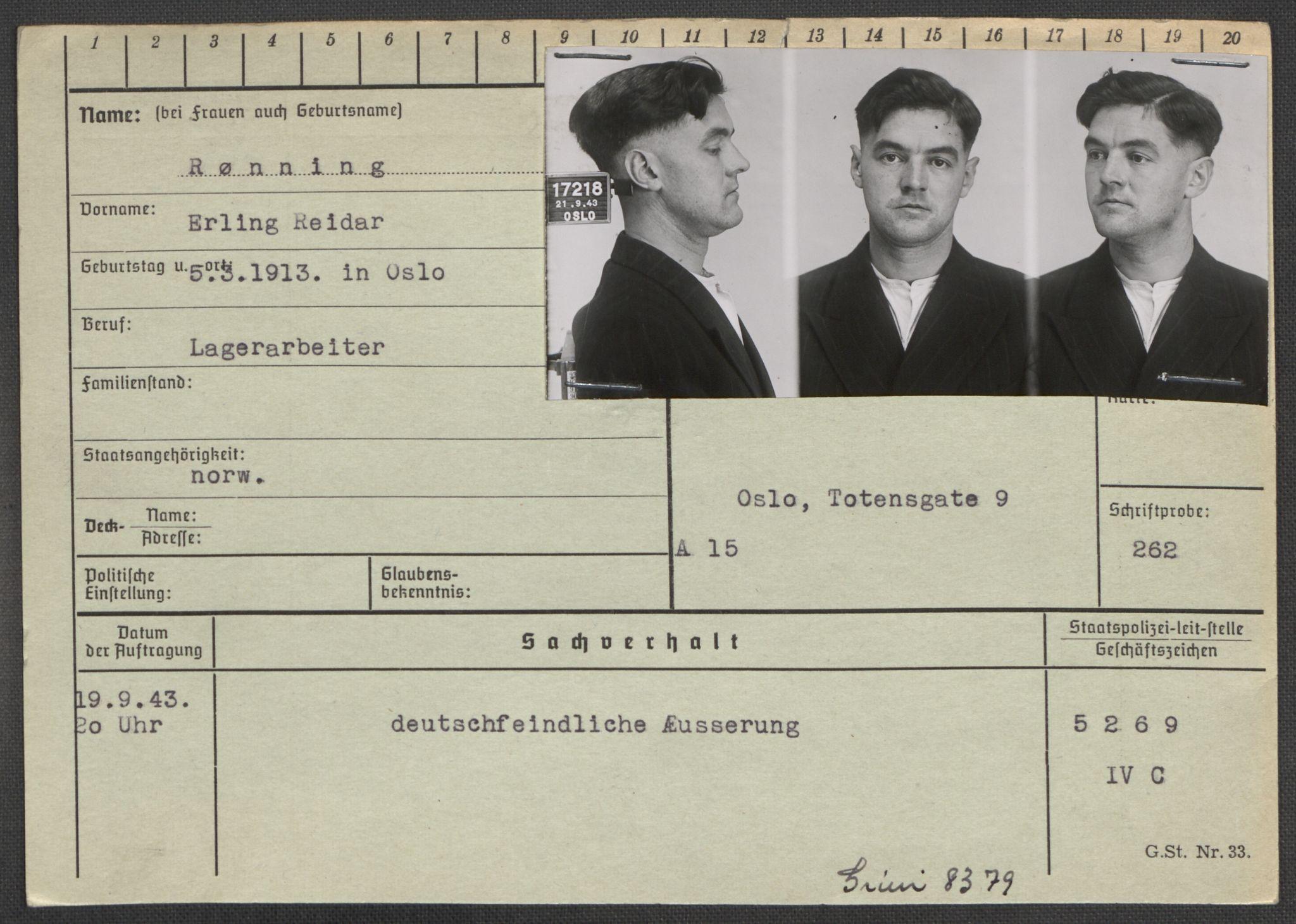RA, Befehlshaber der Sicherheitspolizei und des SD, E/Ea/Eaa/L0009: Register over norske fanger i Møllergata 19: Ru-Sy, 1940-1945, s. 122