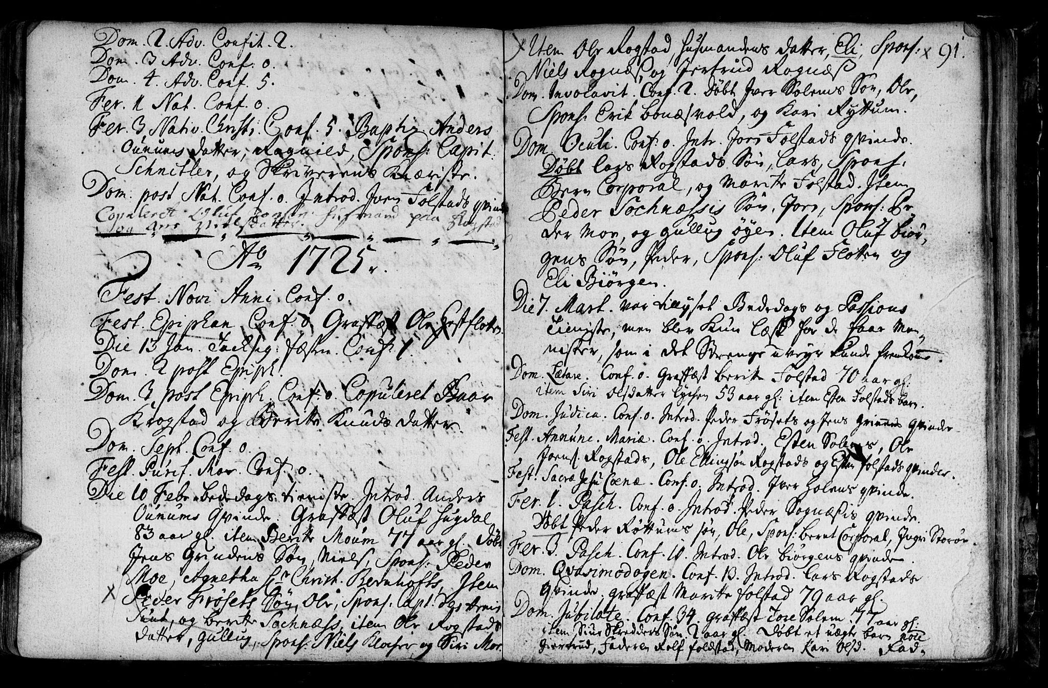 SAT, Ministerialprotokoller, klokkerbøker og fødselsregistre - Sør-Trøndelag, 687/L0990: Ministerialbok nr. 687A01, 1690-1746, s. 91