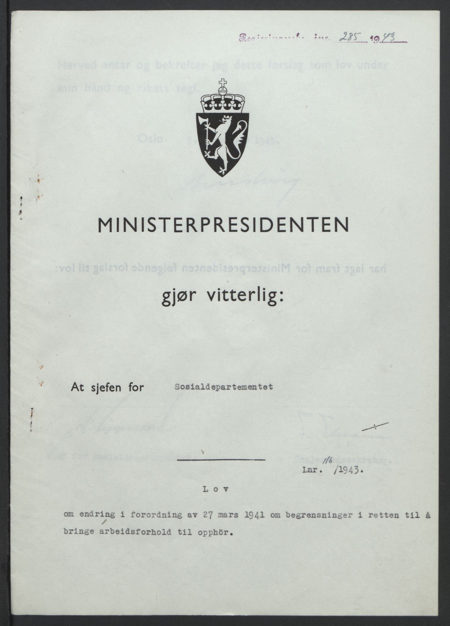 RA, NS-administrasjonen 1940-1945 (Statsrådsekretariatet, de kommisariske statsråder mm), D/Db/L0099: Lover, 1943, s. 540