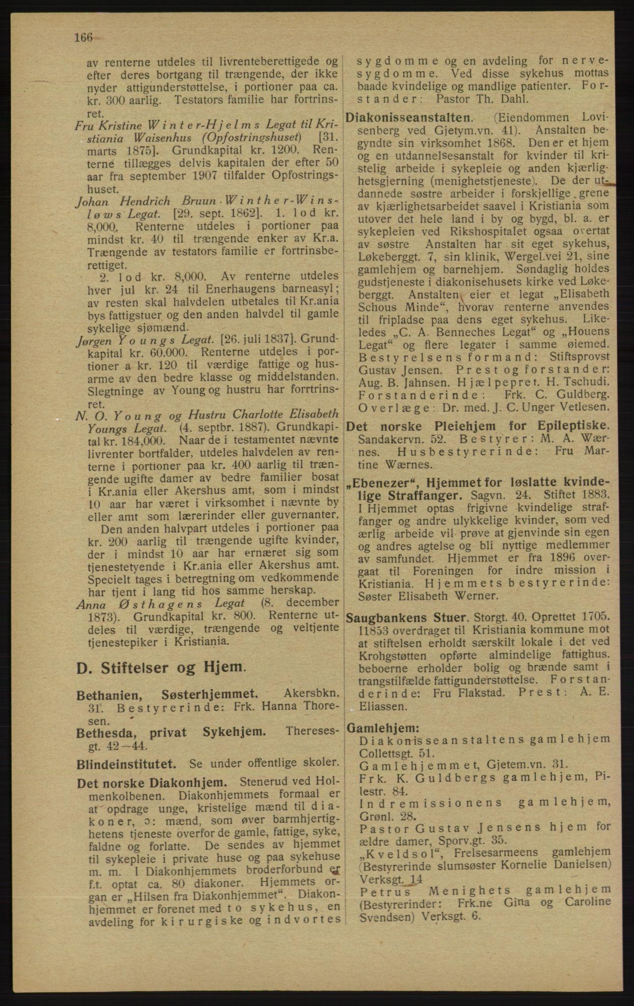 RA, Kristiania adressebok (publikasjon)*, 1913, s. 166