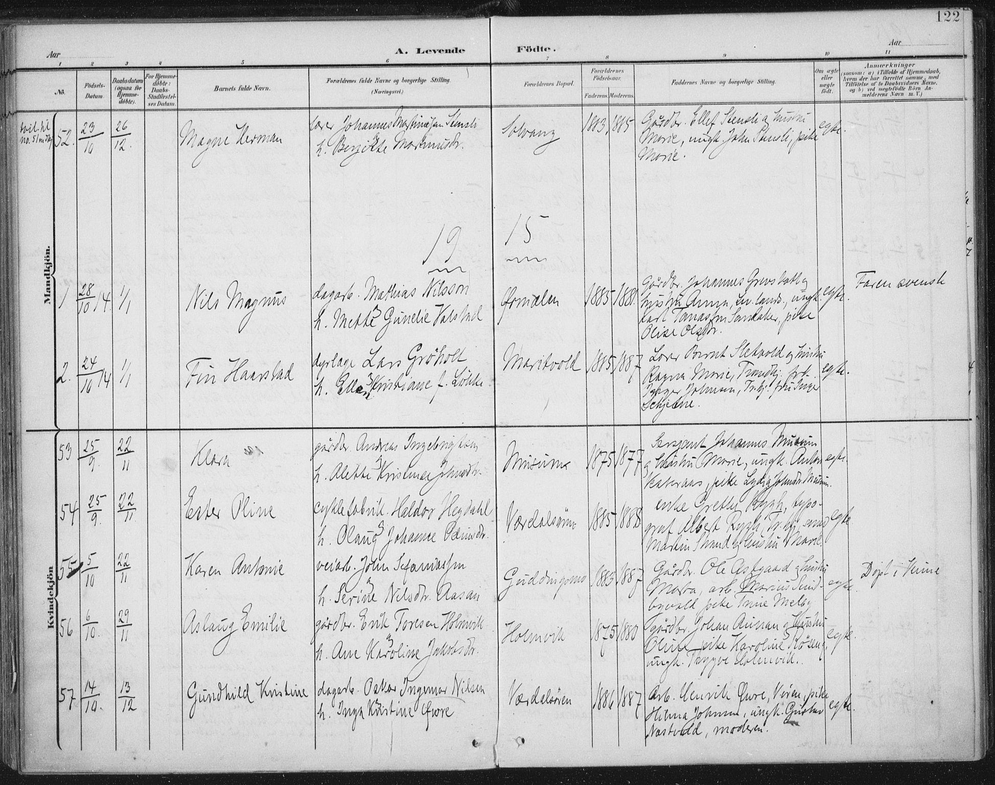 SAT, Ministerialprotokoller, klokkerbøker og fødselsregistre - Nord-Trøndelag, 723/L0246: Ministerialbok nr. 723A15, 1900-1917, s. 122