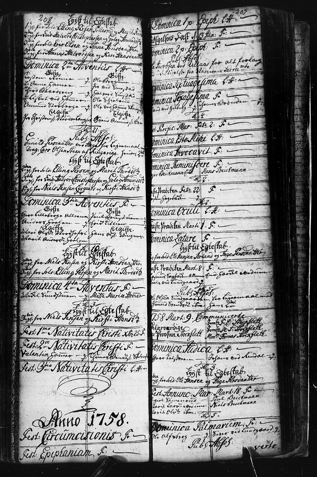 SAH, Fåberg prestekontor, Klokkerbok nr. 1, 1727-1767, s. 208-209