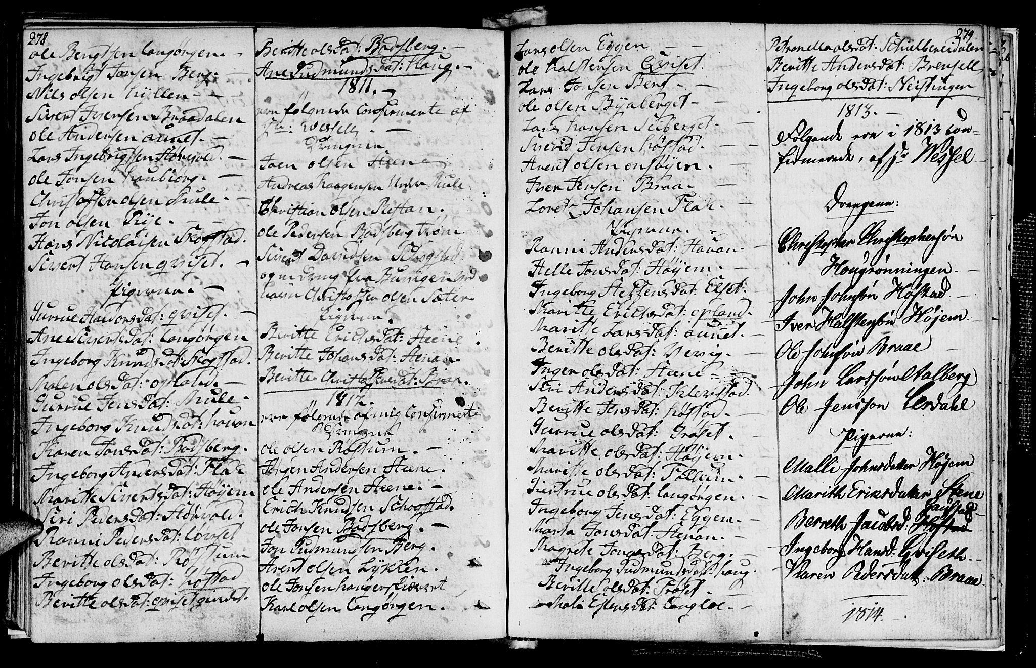 SAT, Ministerialprotokoller, klokkerbøker og fødselsregistre - Sør-Trøndelag, 612/L0371: Ministerialbok nr. 612A05, 1803-1816, s. 278-279