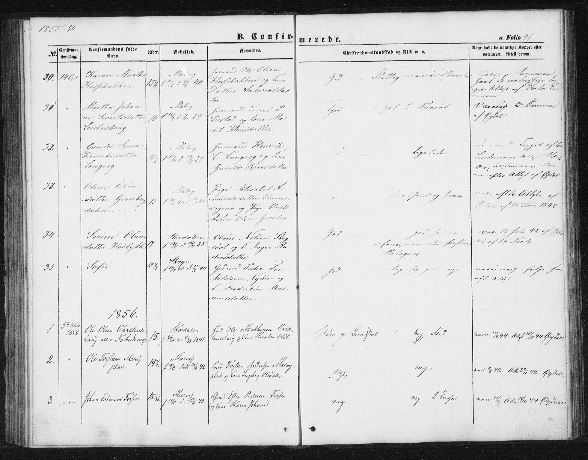 SAT, Ministerialprotokoller, klokkerbøker og fødselsregistre - Sør-Trøndelag, 616/L0407: Ministerialbok nr. 616A04, 1848-1856, s. 97