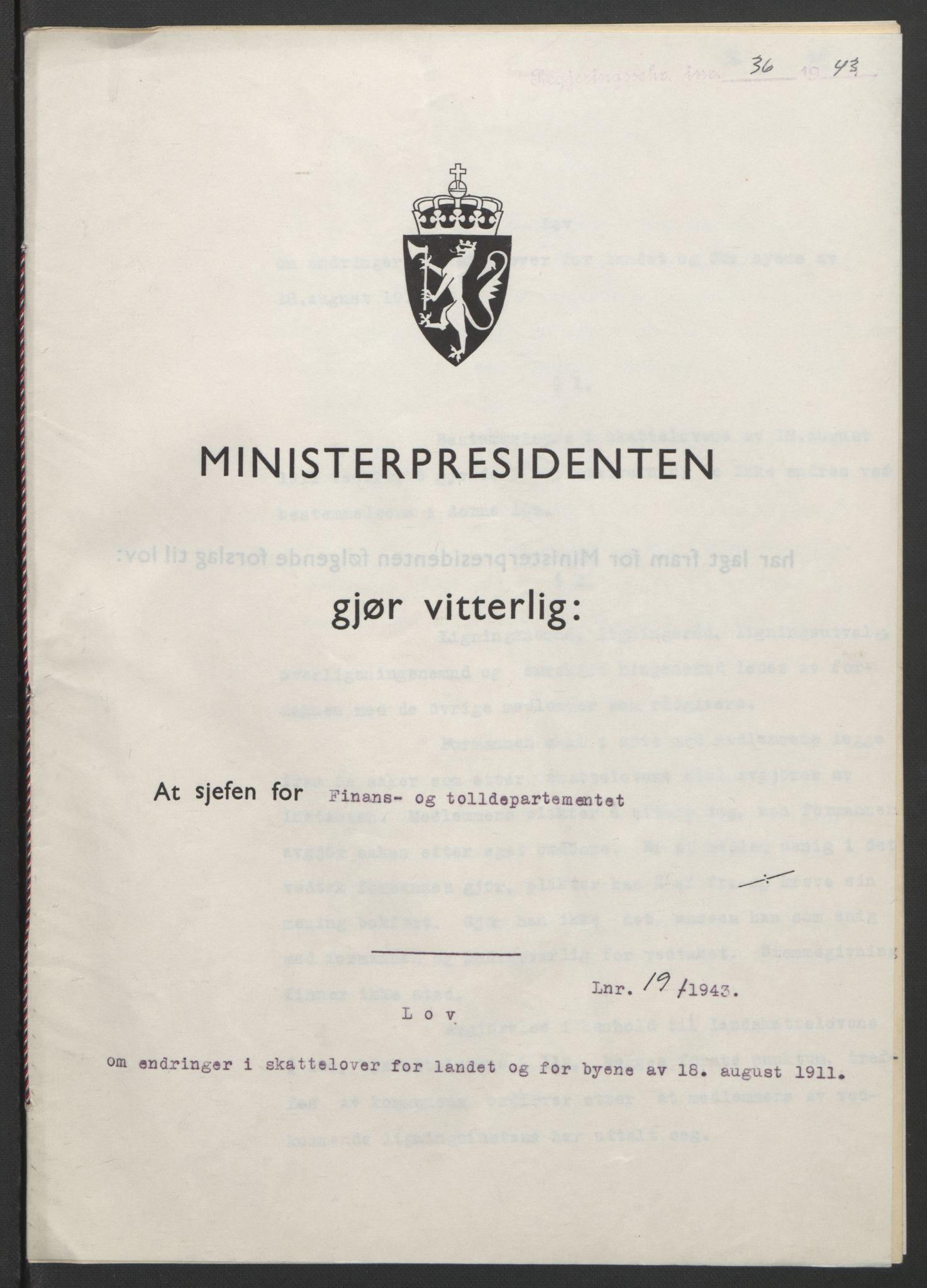 RA, NS-administrasjonen 1940-1945 (Statsrådsekretariatet, de kommisariske statsråder mm), D/Db/L0099: Lover, 1943, s. 76