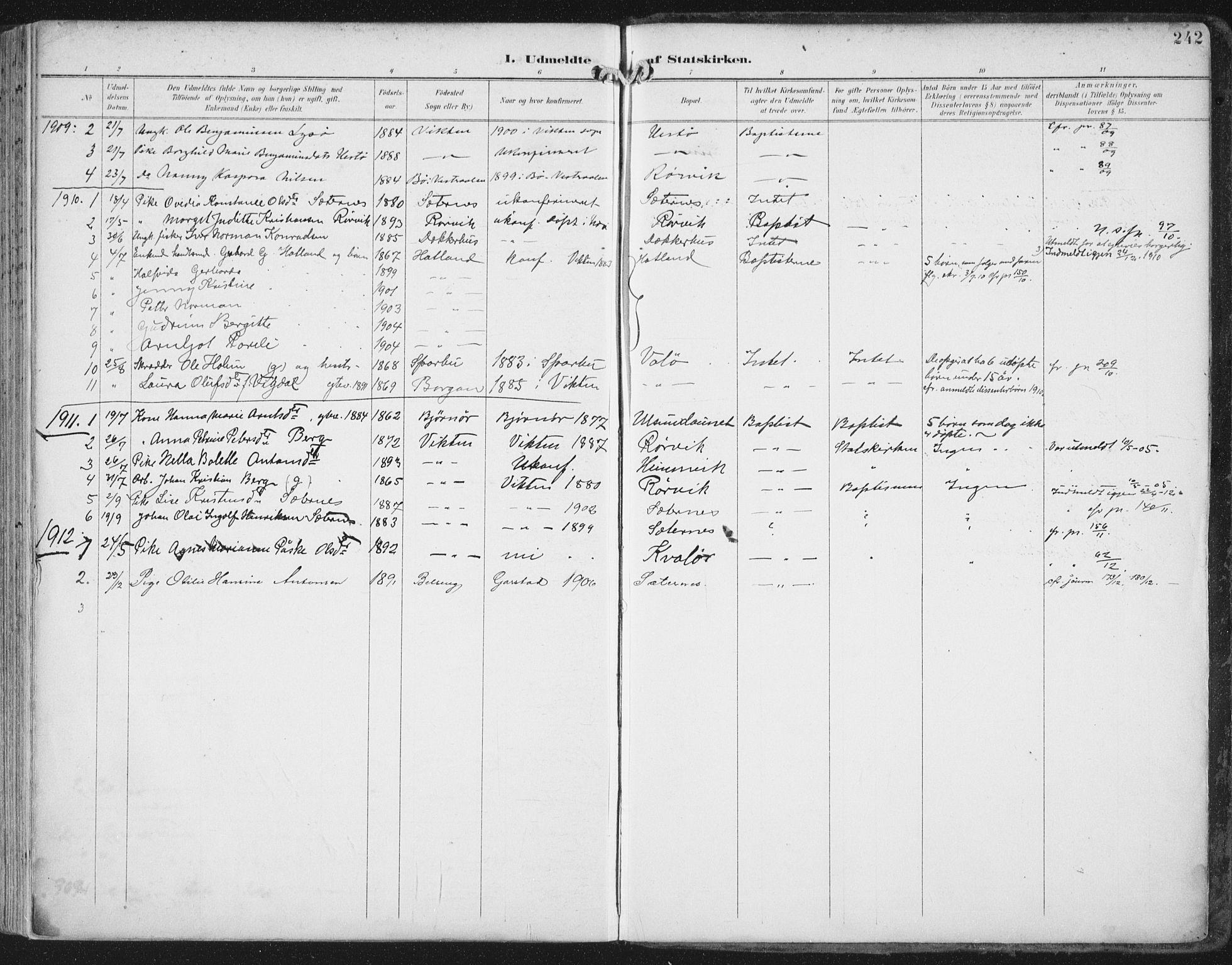 SAT, Ministerialprotokoller, klokkerbøker og fødselsregistre - Nord-Trøndelag, 786/L0688: Ministerialbok nr. 786A04, 1899-1912, s. 242