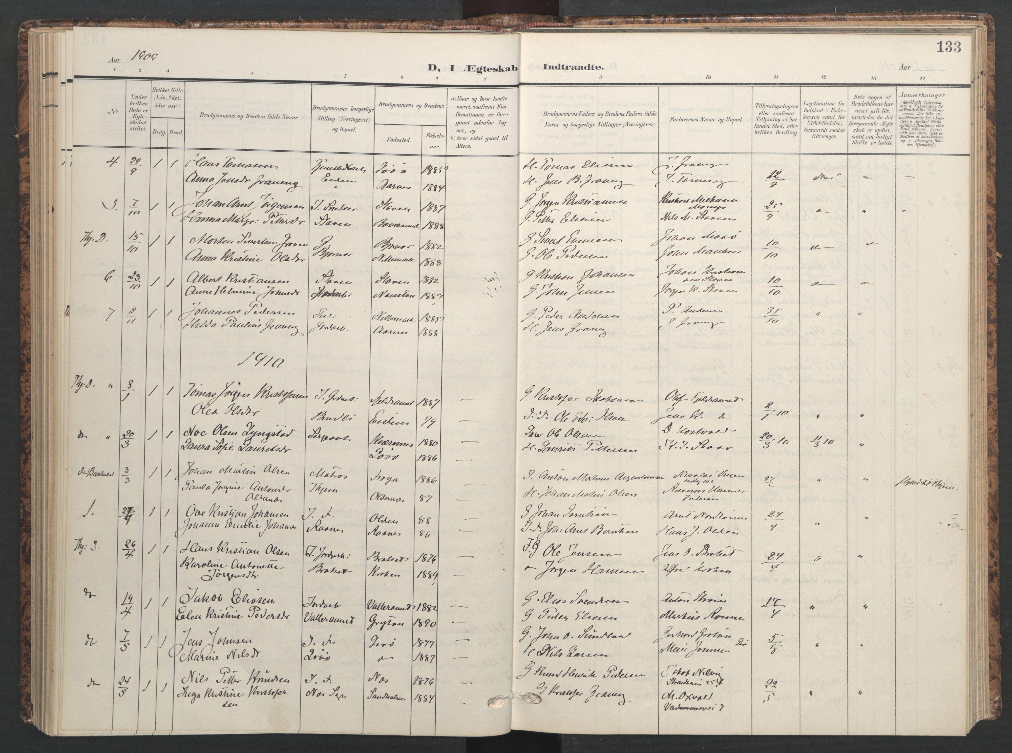 SAT, Ministerialprotokoller, klokkerbøker og fødselsregistre - Sør-Trøndelag, 655/L0682: Ministerialbok nr. 655A11, 1908-1922, s. 133