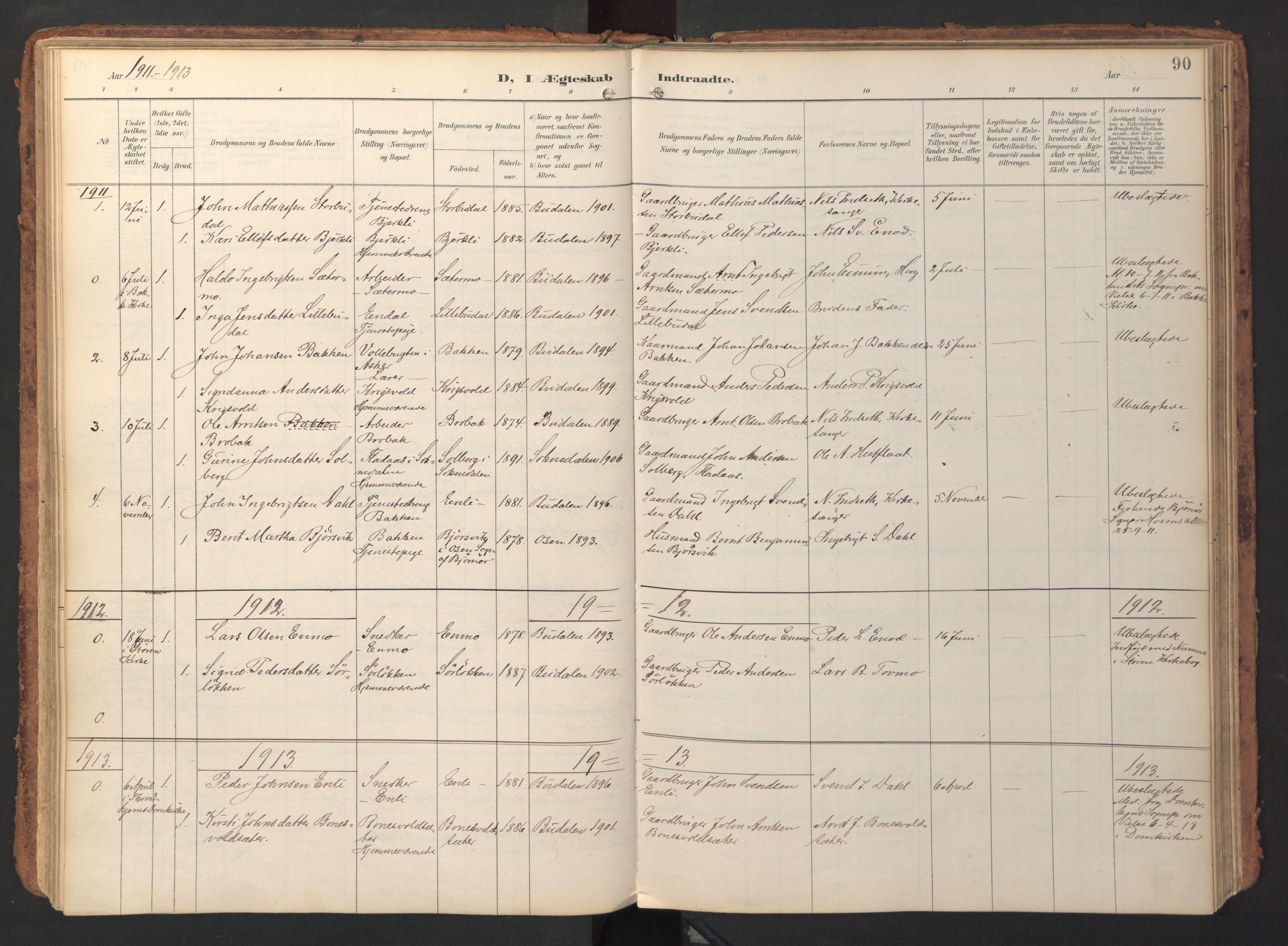 SAT, Ministerialprotokoller, klokkerbøker og fødselsregistre - Sør-Trøndelag, 690/L1050: Ministerialbok nr. 690A01, 1889-1929, s. 90
