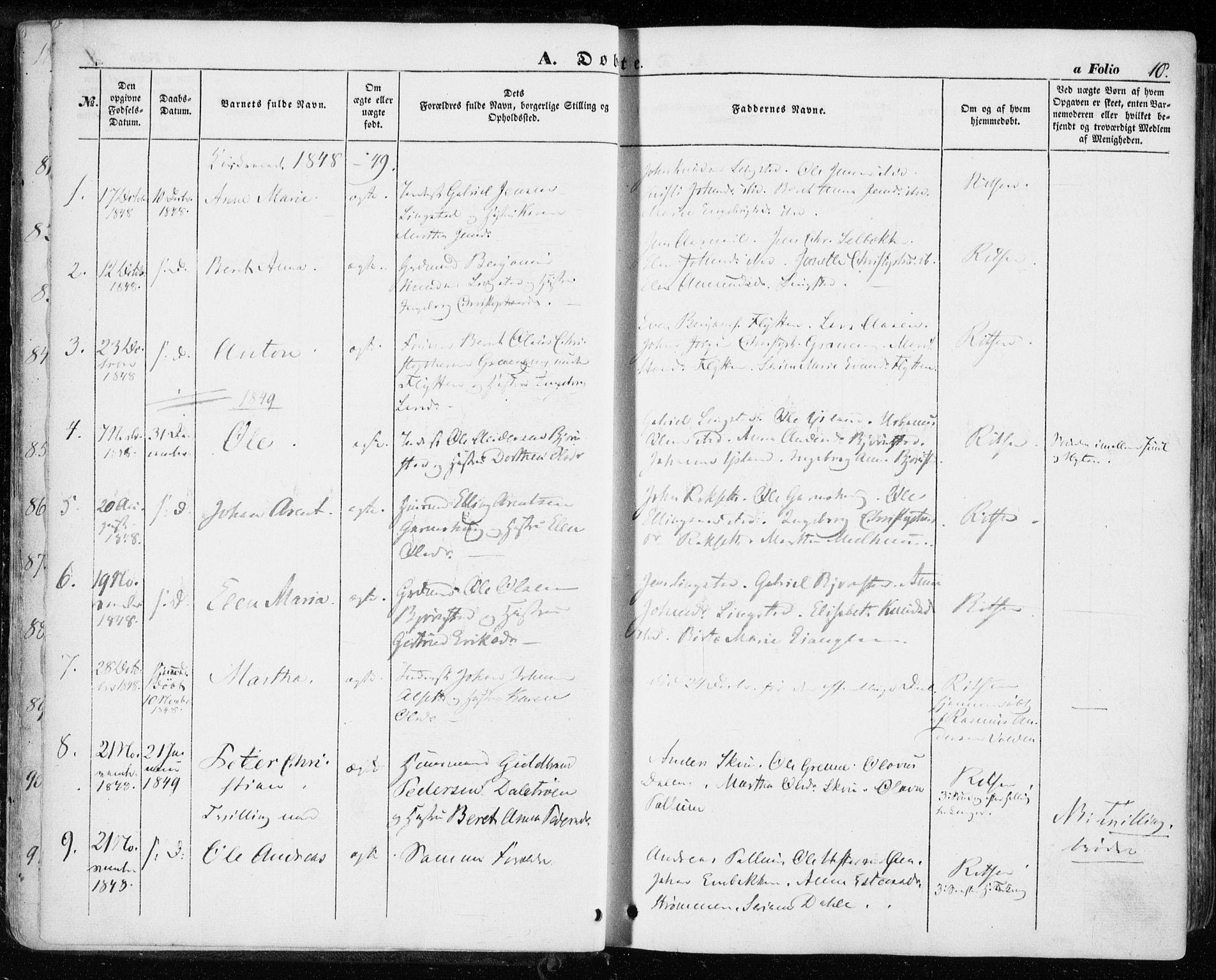SAT, Ministerialprotokoller, klokkerbøker og fødselsregistre - Sør-Trøndelag, 646/L0611: Ministerialbok nr. 646A09, 1848-1857, s. 10