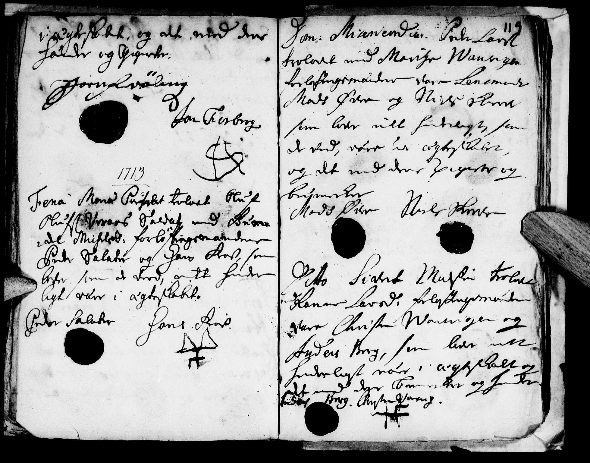 SAT, Ministerialprotokoller, klokkerbøker og fødselsregistre - Nord-Trøndelag, 722/L0214: Ministerialbok nr. 722A01, 1692-1718, s. 119