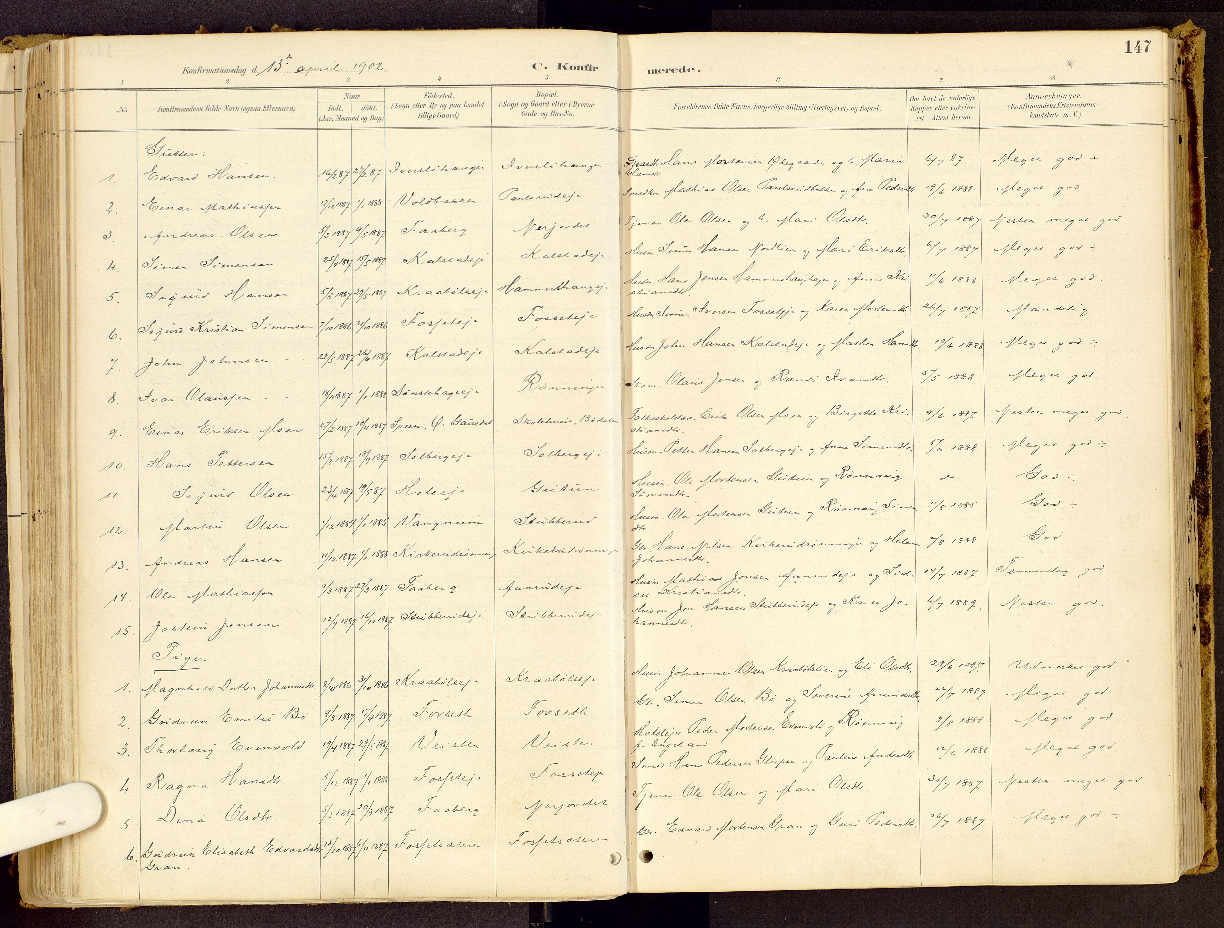 SAH, Vestre Gausdal prestekontor, Ministerialbok nr. 1, 1887-1914, s. 147