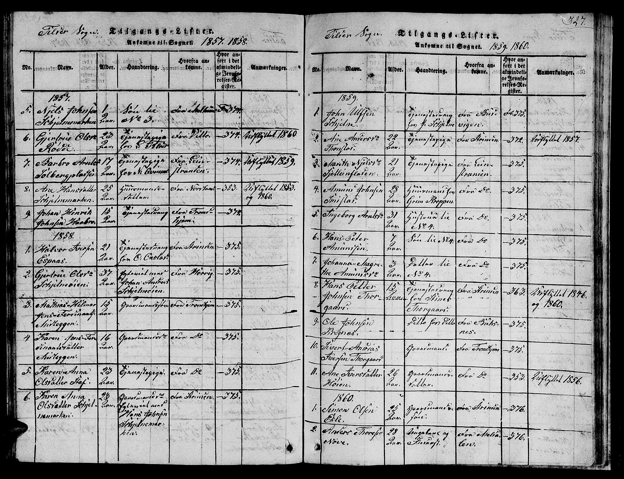 SAT, Ministerialprotokoller, klokkerbøker og fødselsregistre - Sør-Trøndelag, 621/L0458: Klokkerbok nr. 621C01, 1816-1865, s. 327