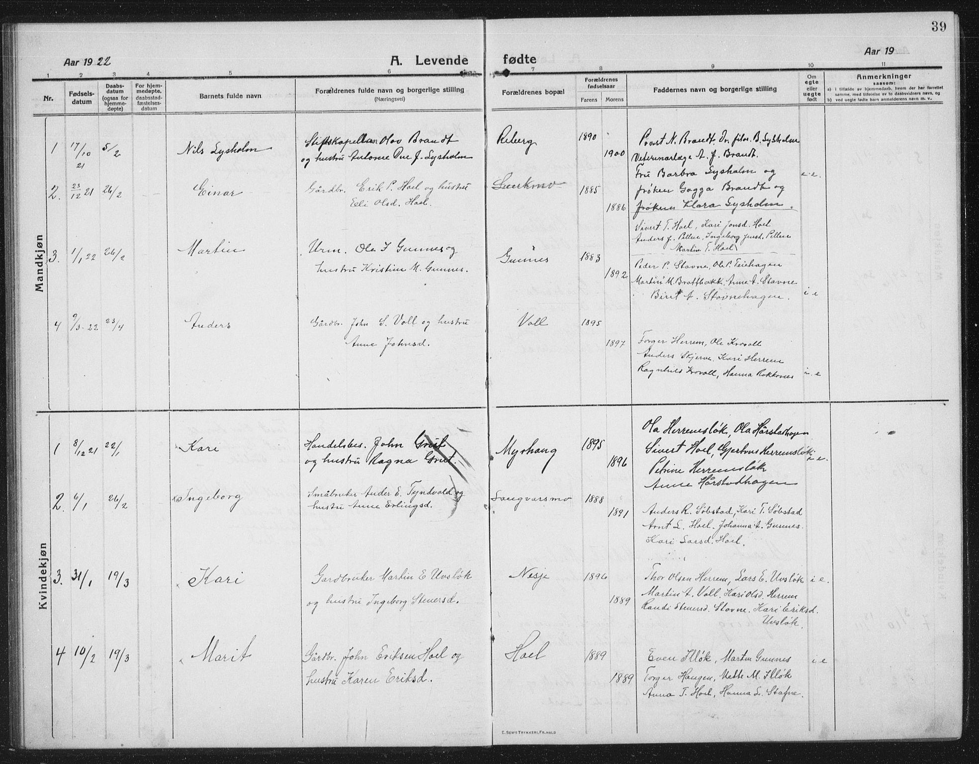 SAT, Ministerialprotokoller, klokkerbøker og fødselsregistre - Sør-Trøndelag, 674/L0877: Klokkerbok nr. 674C04, 1913-1940, s. 39