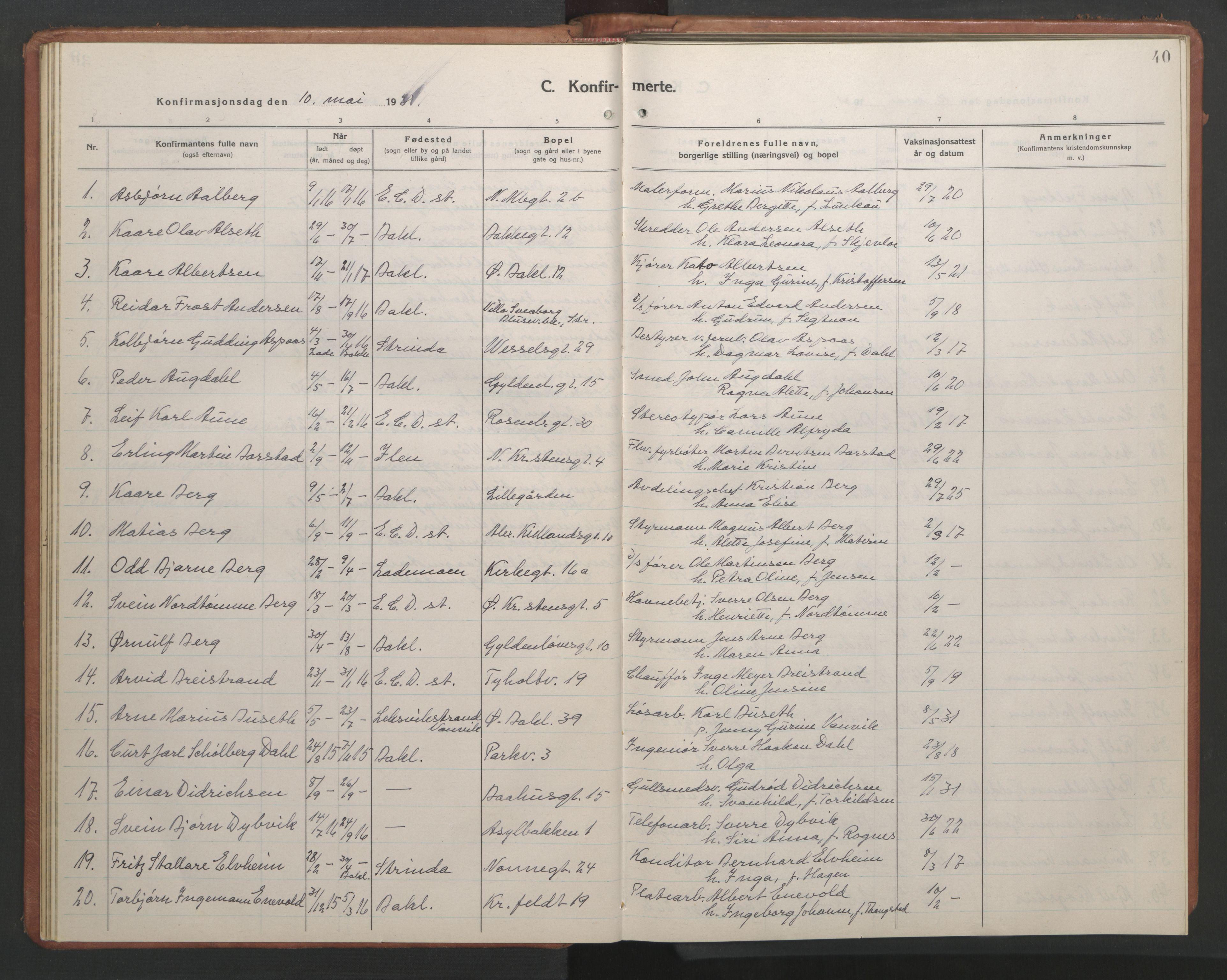 SAT, Ministerialprotokoller, klokkerbøker og fødselsregistre - Sør-Trøndelag, 604/L0228: Klokkerbok nr. 604C11, 1928-1950, s. 40