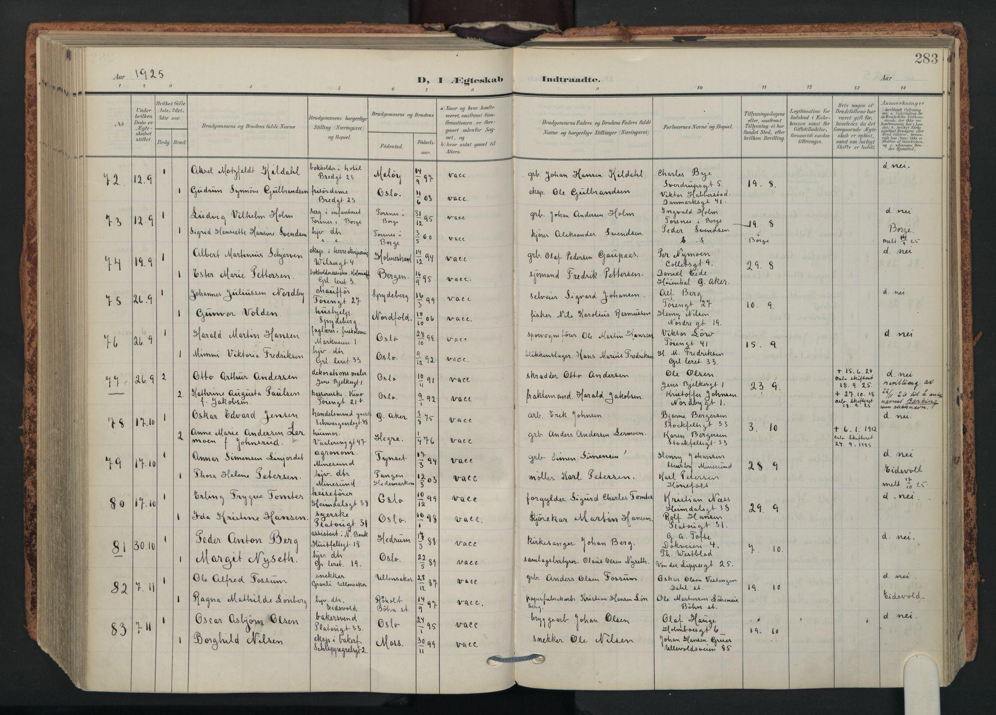 SAO, Grønland prestekontor Kirkebøker, F/Fa/L0017: Ministerialbok nr. 17, 1906-1934, s. 283