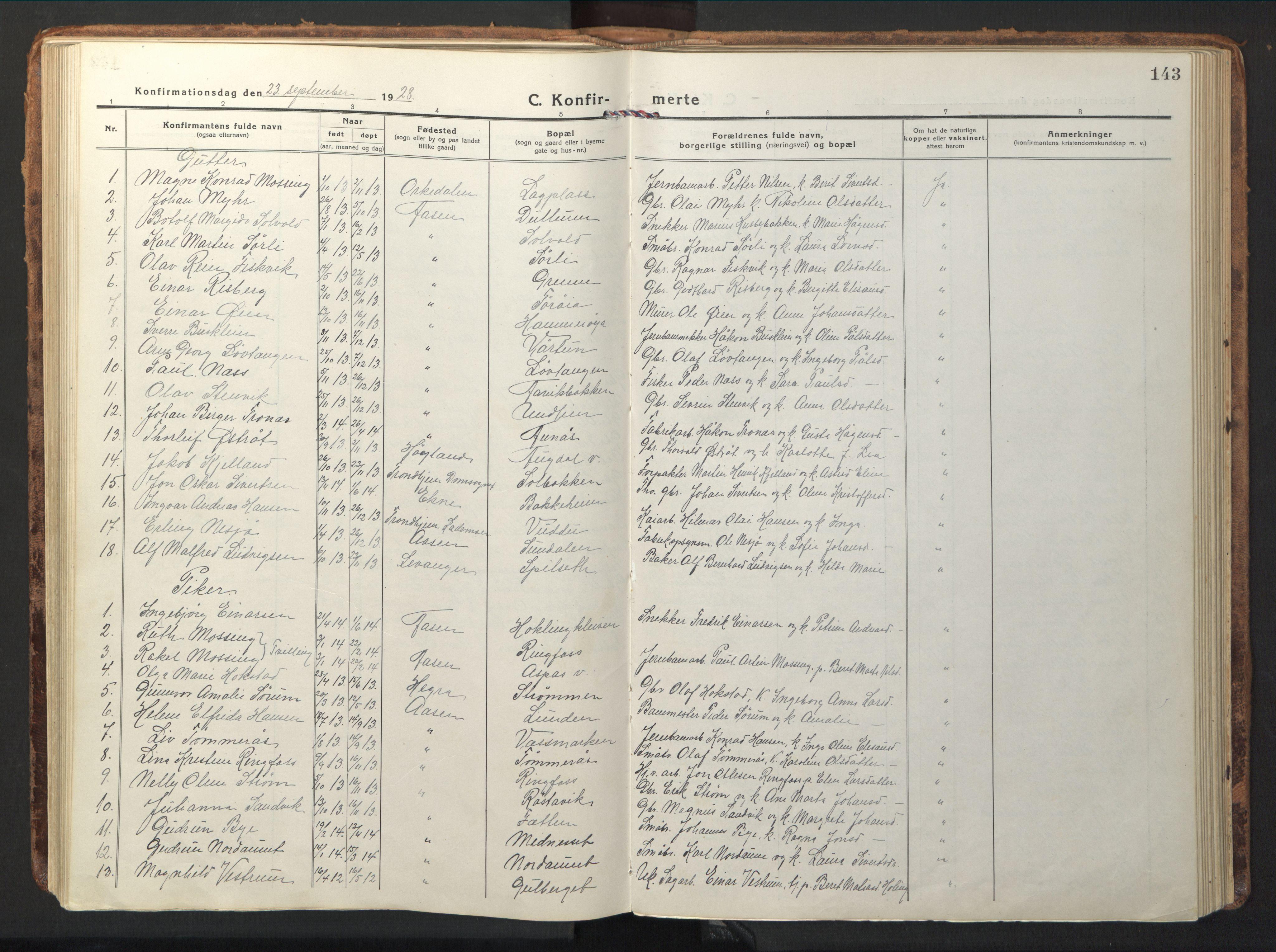 SAT, Ministerialprotokoller, klokkerbøker og fødselsregistre - Nord-Trøndelag, 714/L0136: Klokkerbok nr. 714C05, 1918-1957, s. 143