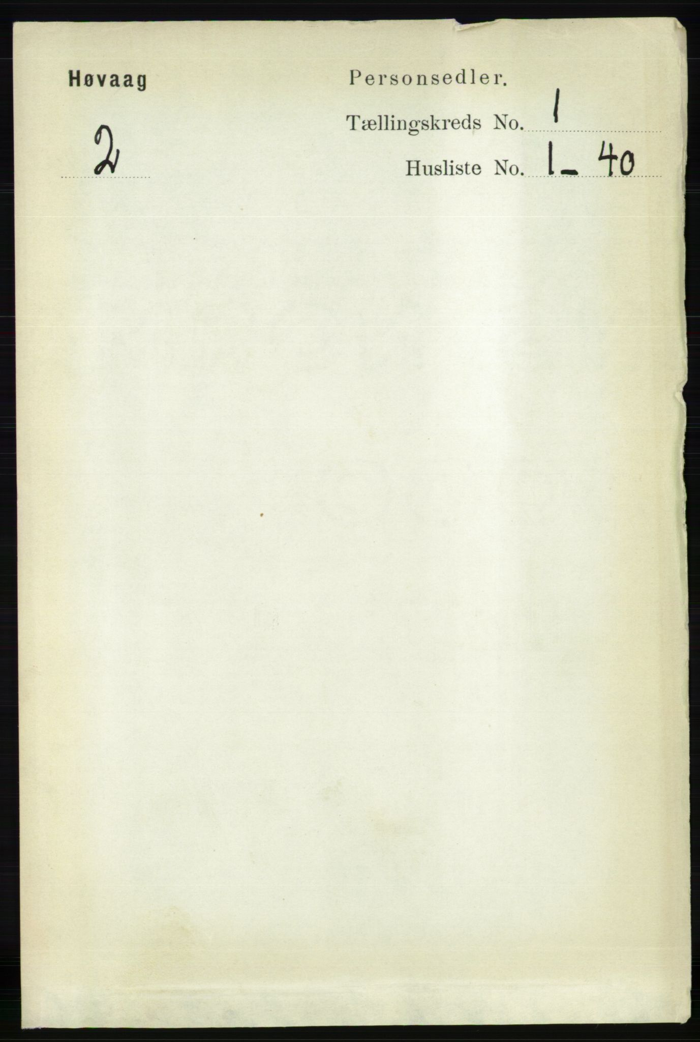 RA, Folketelling 1891 for 0927 Høvåg herred, 1891, s. 90