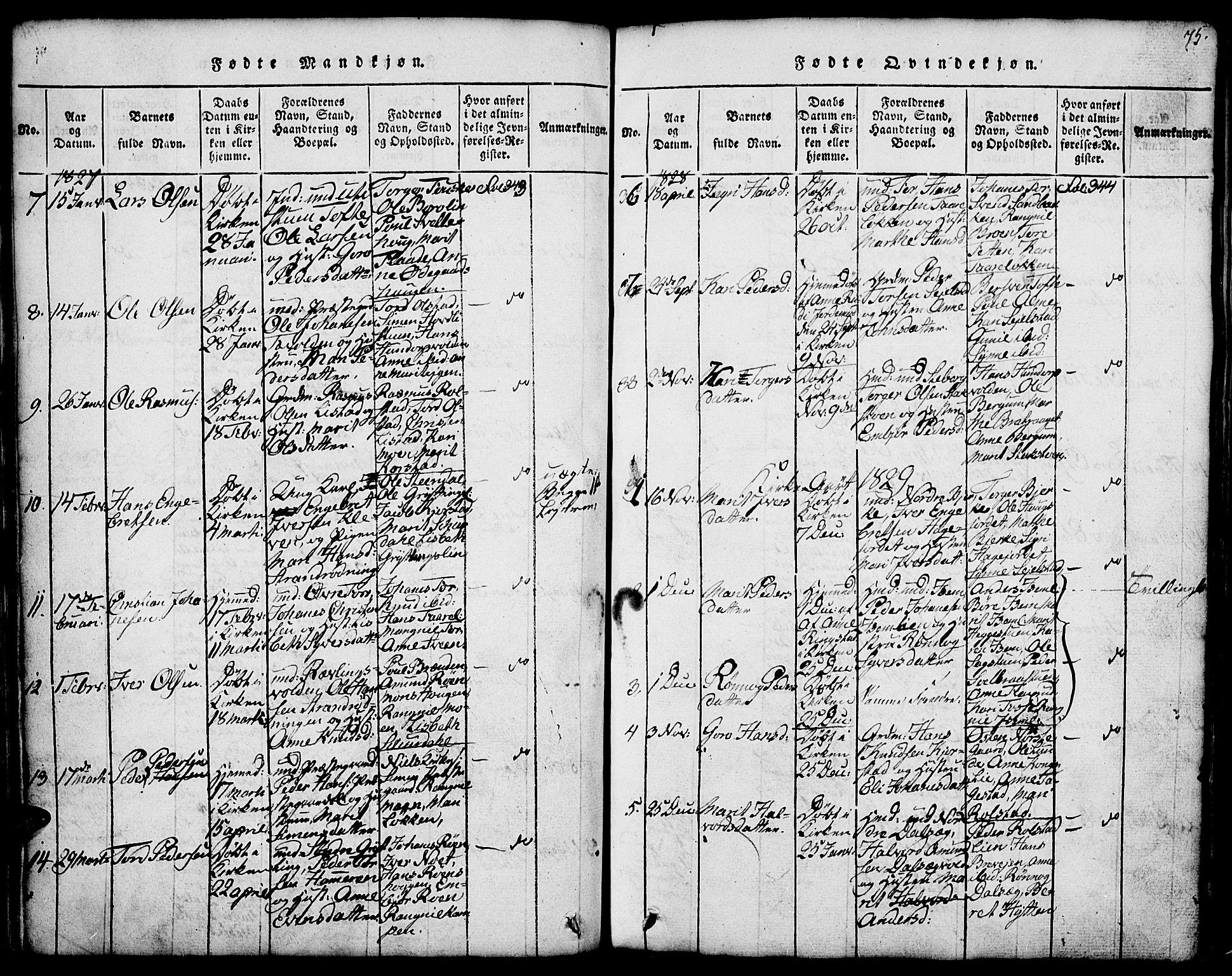 SAH, Fron prestekontor, H/Ha/Hab/L0001: Klokkerbok nr. 1, 1816-1843, s. 75
