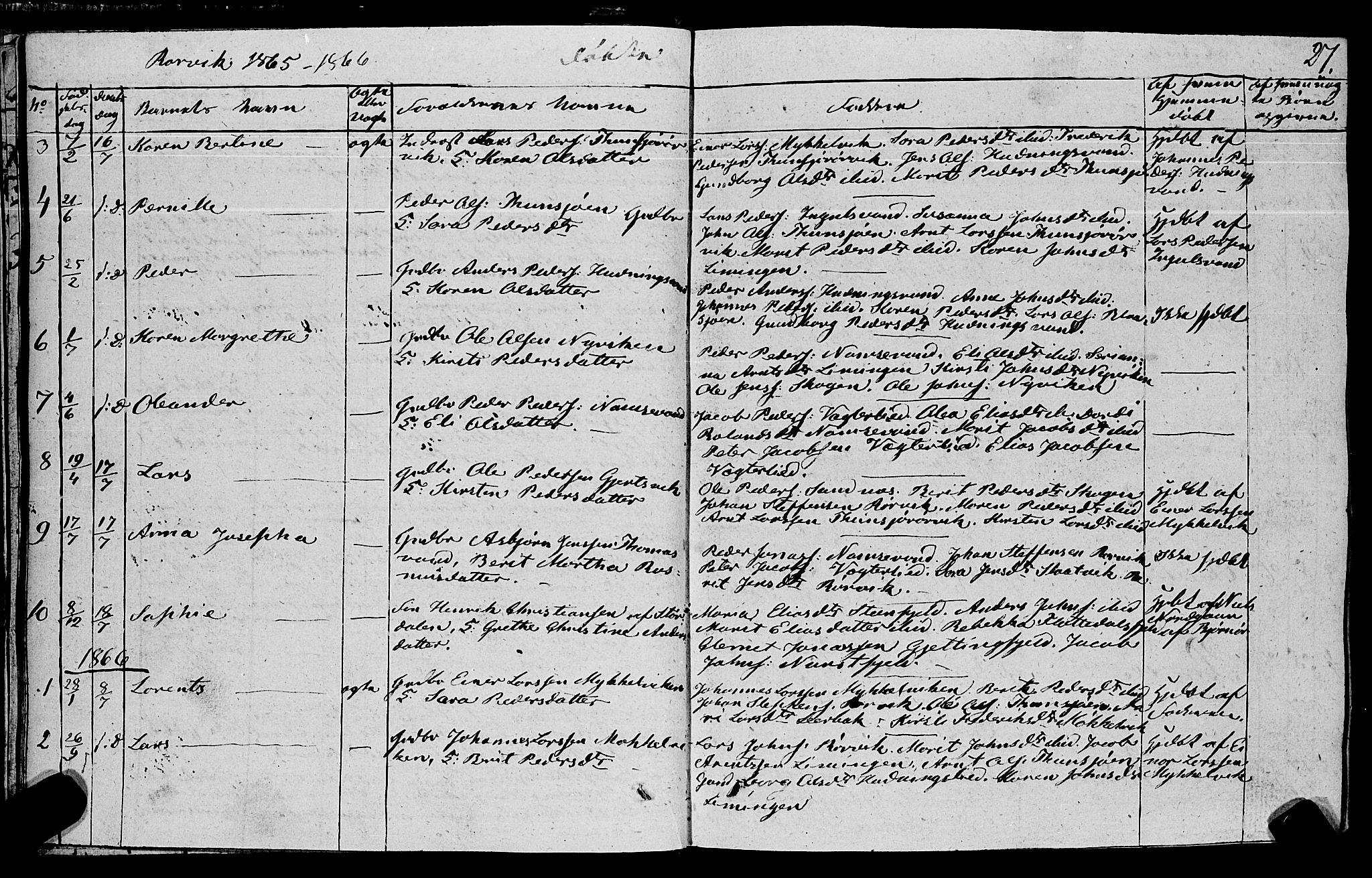 SAT, Ministerialprotokoller, klokkerbøker og fødselsregistre - Nord-Trøndelag, 762/L0538: Ministerialbok nr. 762A02 /1, 1833-1879, s. 27