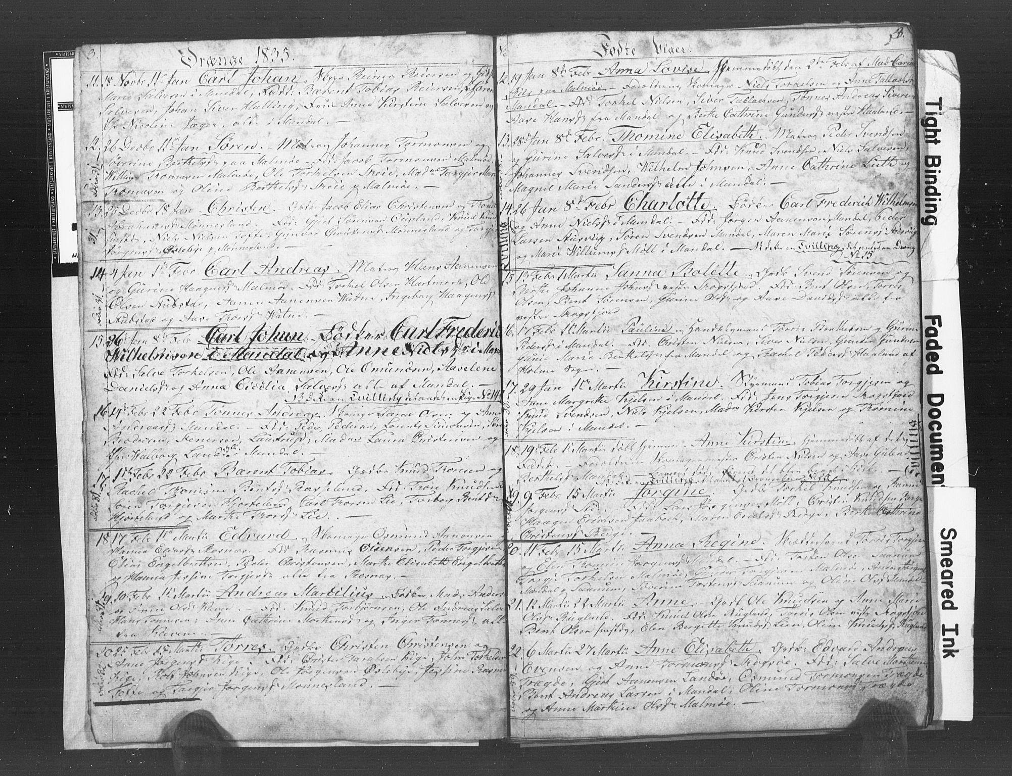 SAK, Mandal sokneprestkontor, F/Fb/Fba/L0003: Klokkerbok nr. B 1C, 1834-1838, s. 3