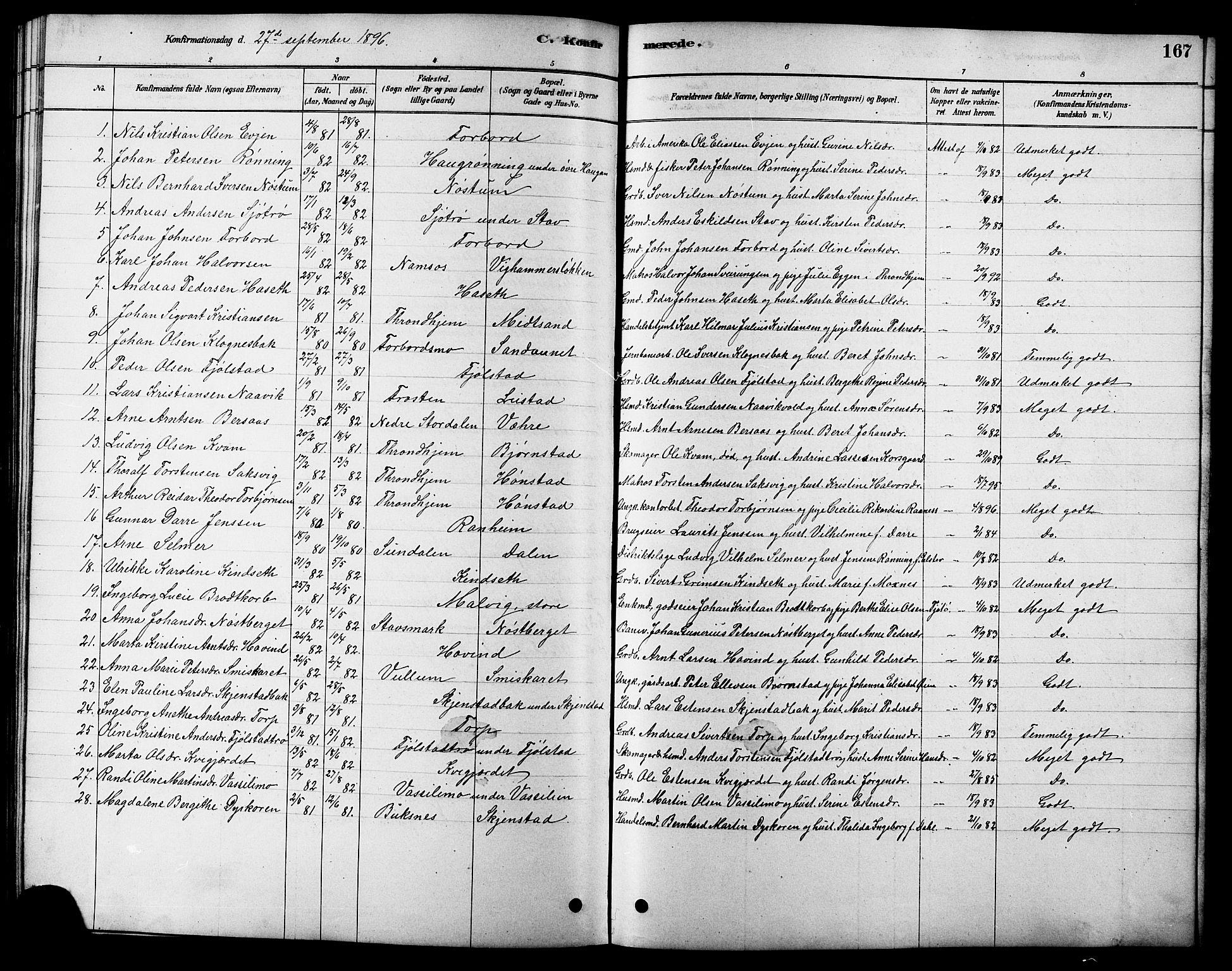 SAT, Ministerialprotokoller, klokkerbøker og fødselsregistre - Sør-Trøndelag, 616/L0423: Klokkerbok nr. 616C06, 1878-1903, s. 167