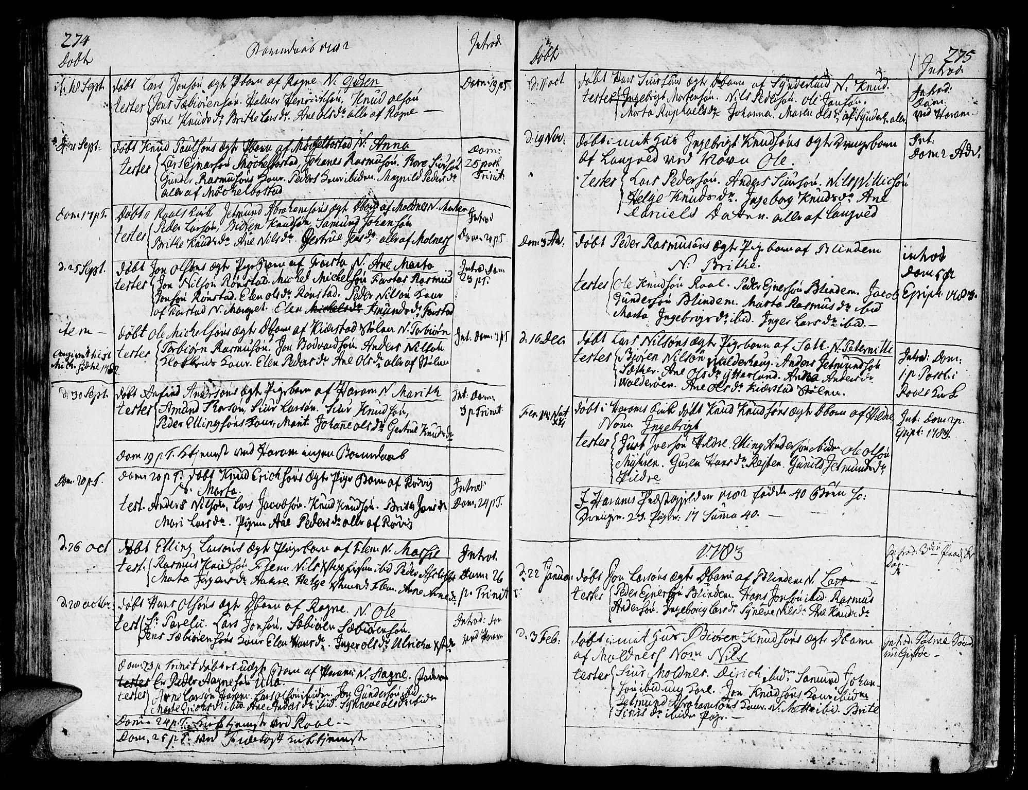 SAT, Ministerialprotokoller, klokkerbøker og fødselsregistre - Møre og Romsdal, 536/L0493: Ministerialbok nr. 536A02, 1739-1802, s. 274-275