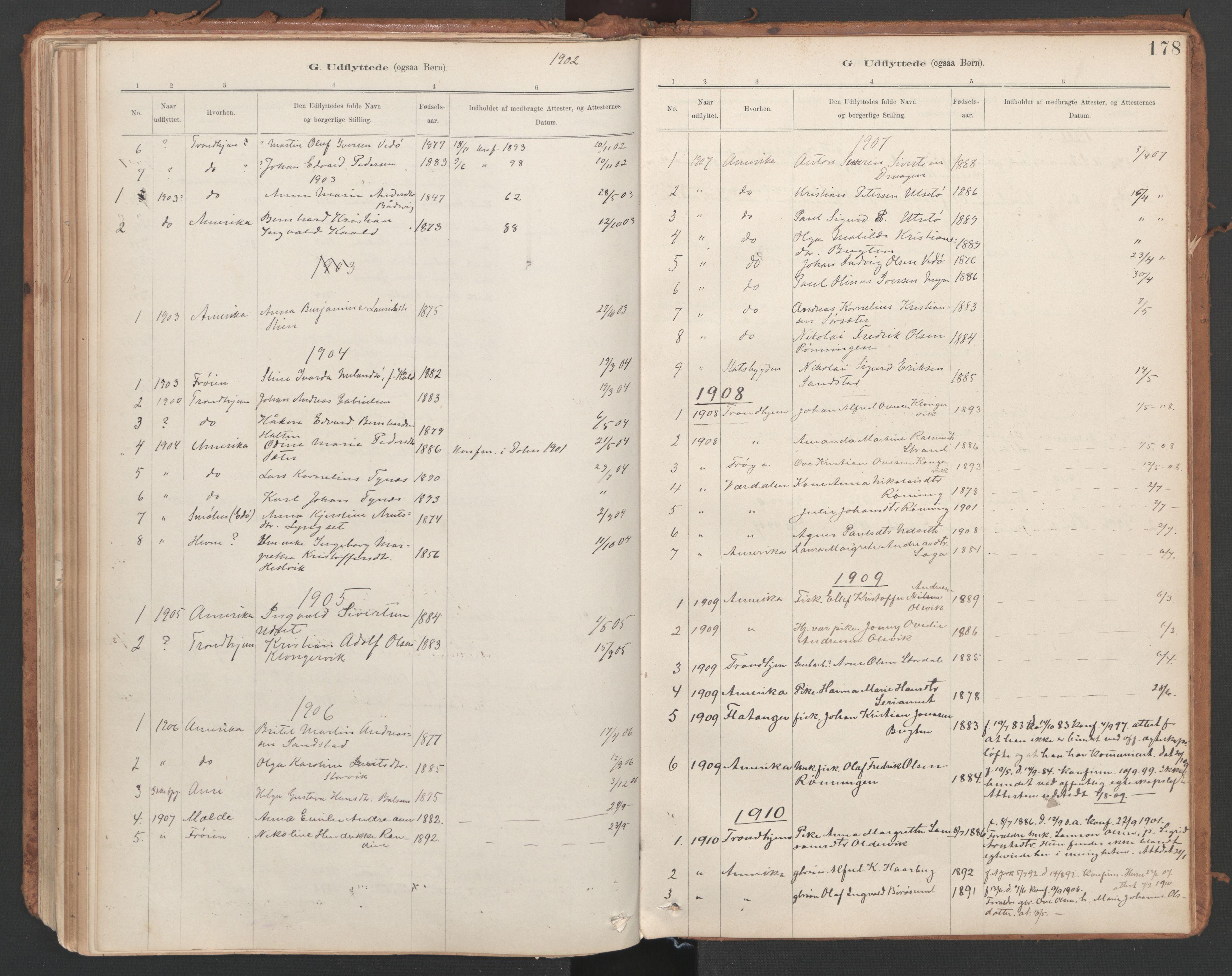 SAT, Ministerialprotokoller, klokkerbøker og fødselsregistre - Sør-Trøndelag, 639/L0572: Ministerialbok nr. 639A01, 1890-1920, s. 178